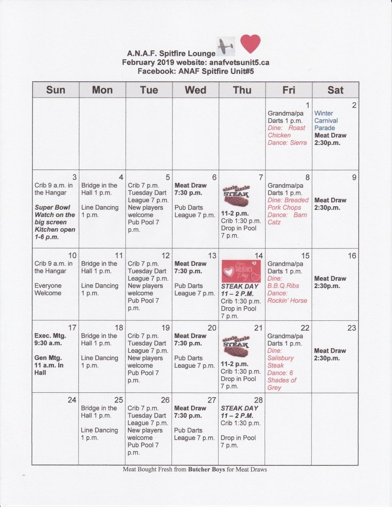 Events | Anaf Unit #5 Vernon, B.c. Unit 5 Calendar 2019