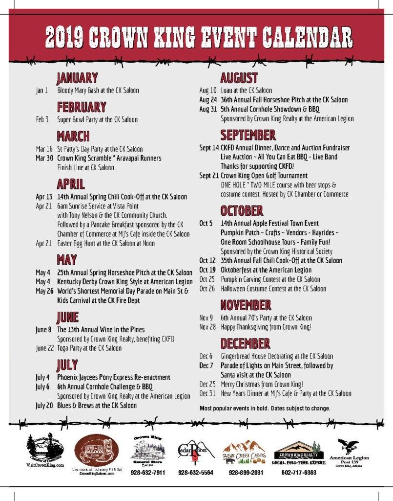 Events – Crown King Az   Far From Ordinary C&k Calendar 2019