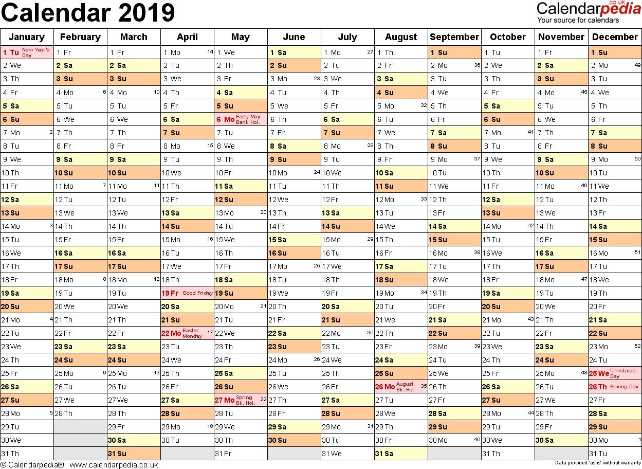 Excel Calendar 2019 (Uk): 16 Printable Templates (Xlsx, Free) Calendar 2019 Excel By Week