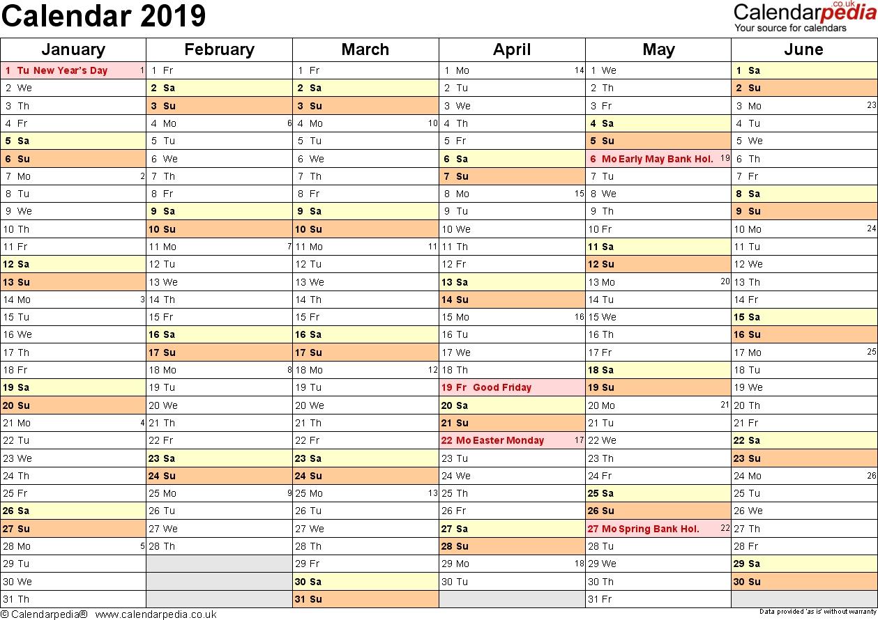 Excel Calendar 2019 (Uk): 16 Printable Templates (Xlsx, Free) Calendar 2019 Xlsx