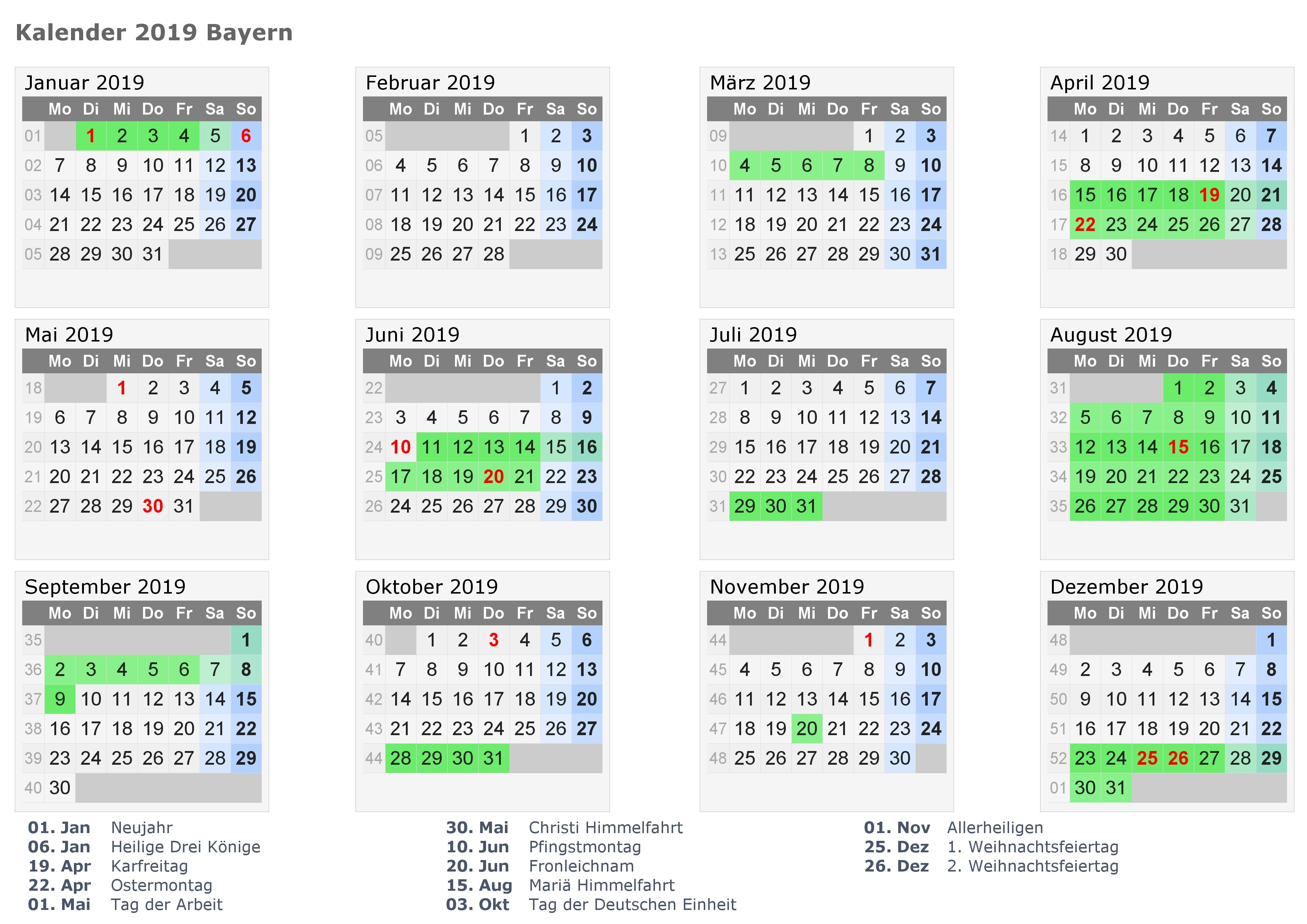 Facts For The Purpose Of Kalender 2019 Bayern Mit Schulferien Calendar 2019 Excel Germany