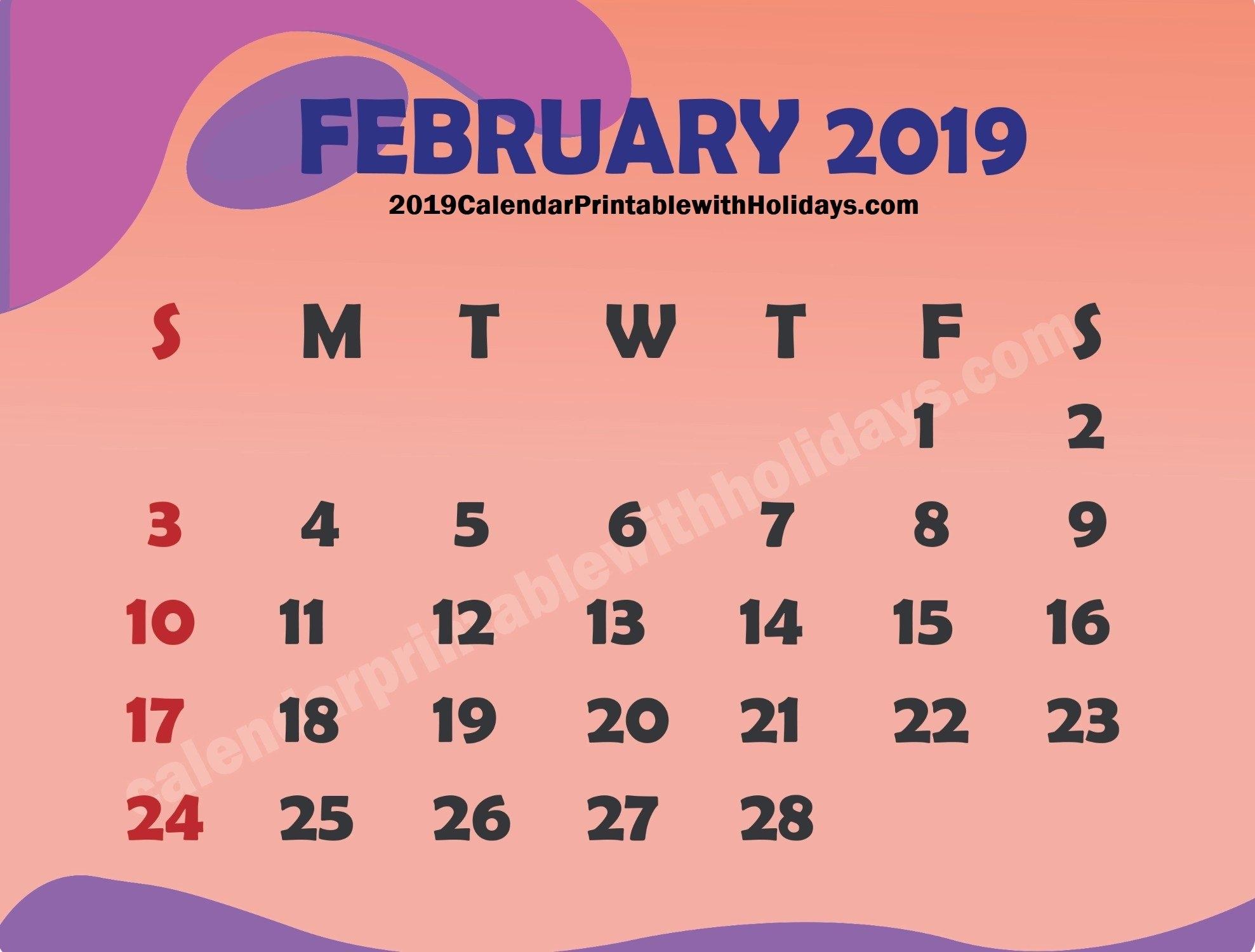 February 2019 Calendar – 2019 Calendar Printable With Holidays Template Feb 9 2019 Calendar