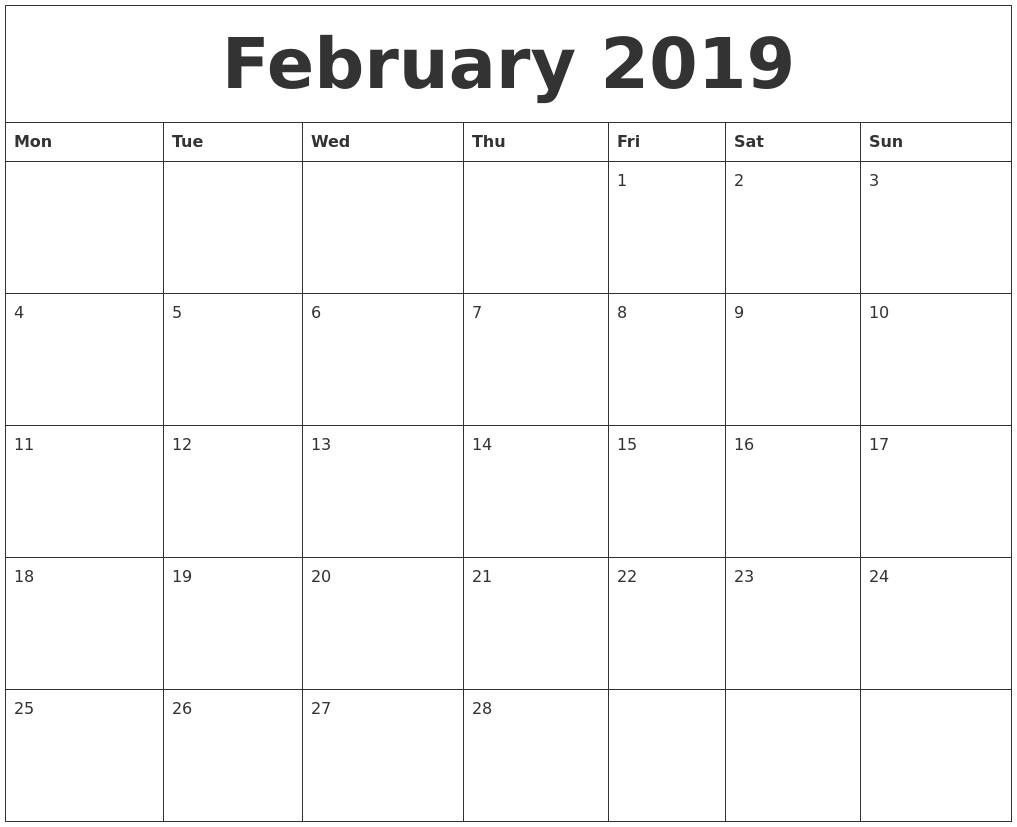 February 2019 Calendar Calendar 2019 Excel Starting Monday