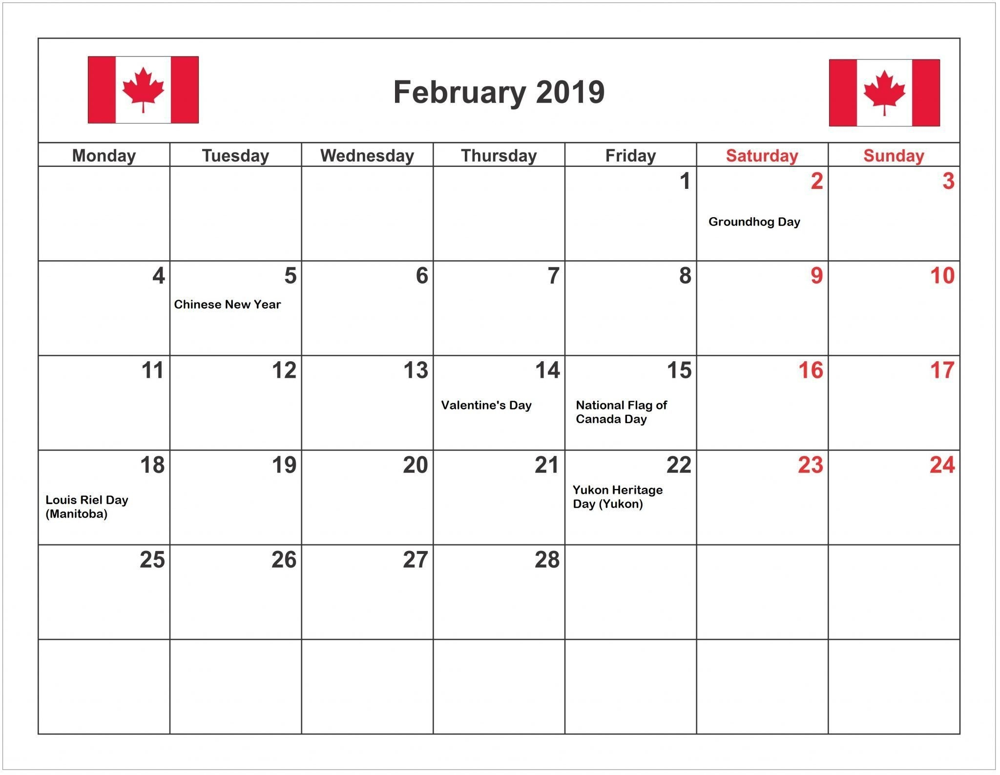 February 2019 Calendar Canada With Holidays   February 2019 Calendar Calendar 2019 Canada Holidays