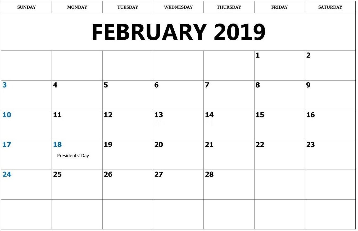 February 2019 Calendar Outline – Printable Calendar Templates Calendar 2019 Outline