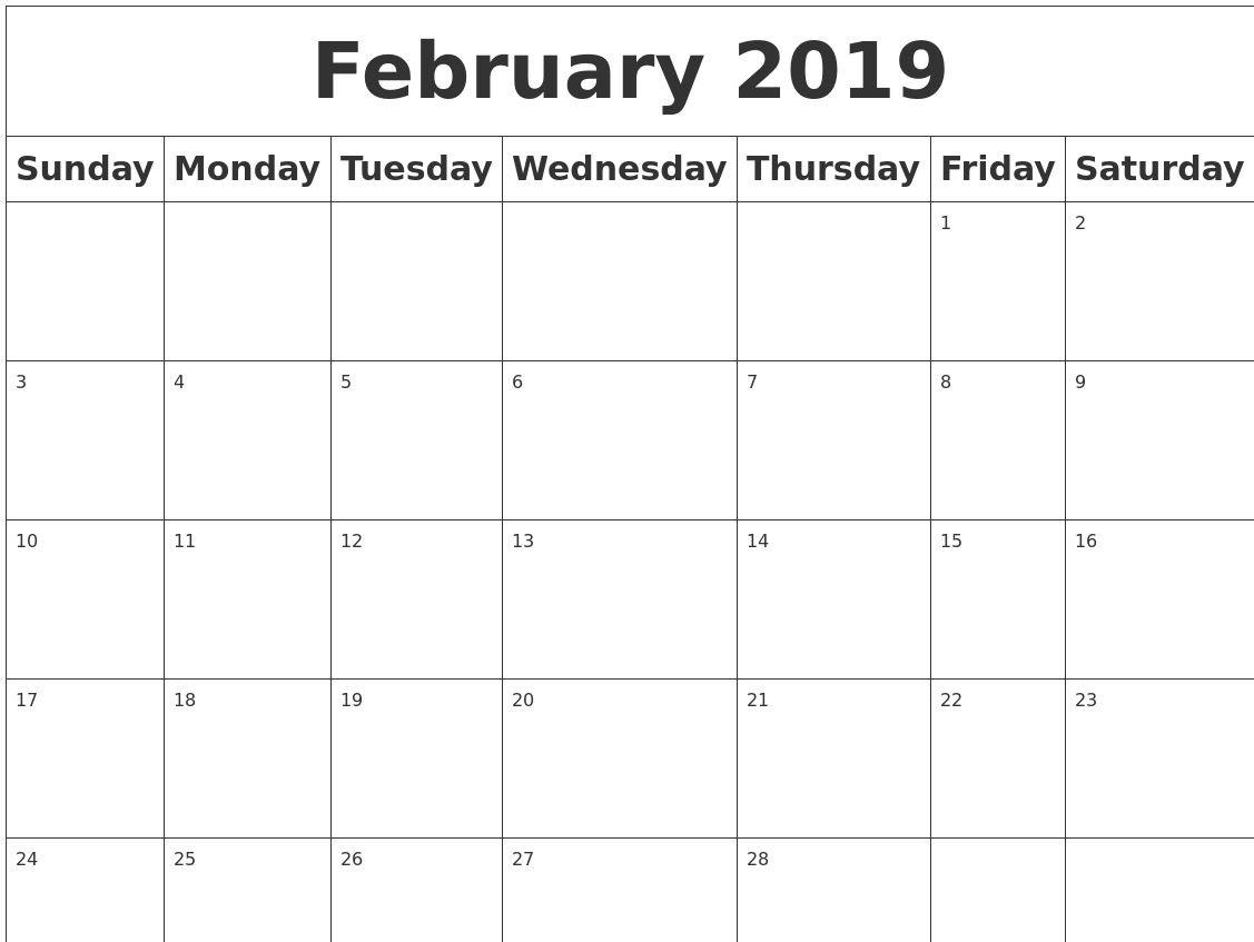 February 2019 Calendar Pdf, Excel, Word [Download}   Calendar 2018 Calendar 2019 Download Word