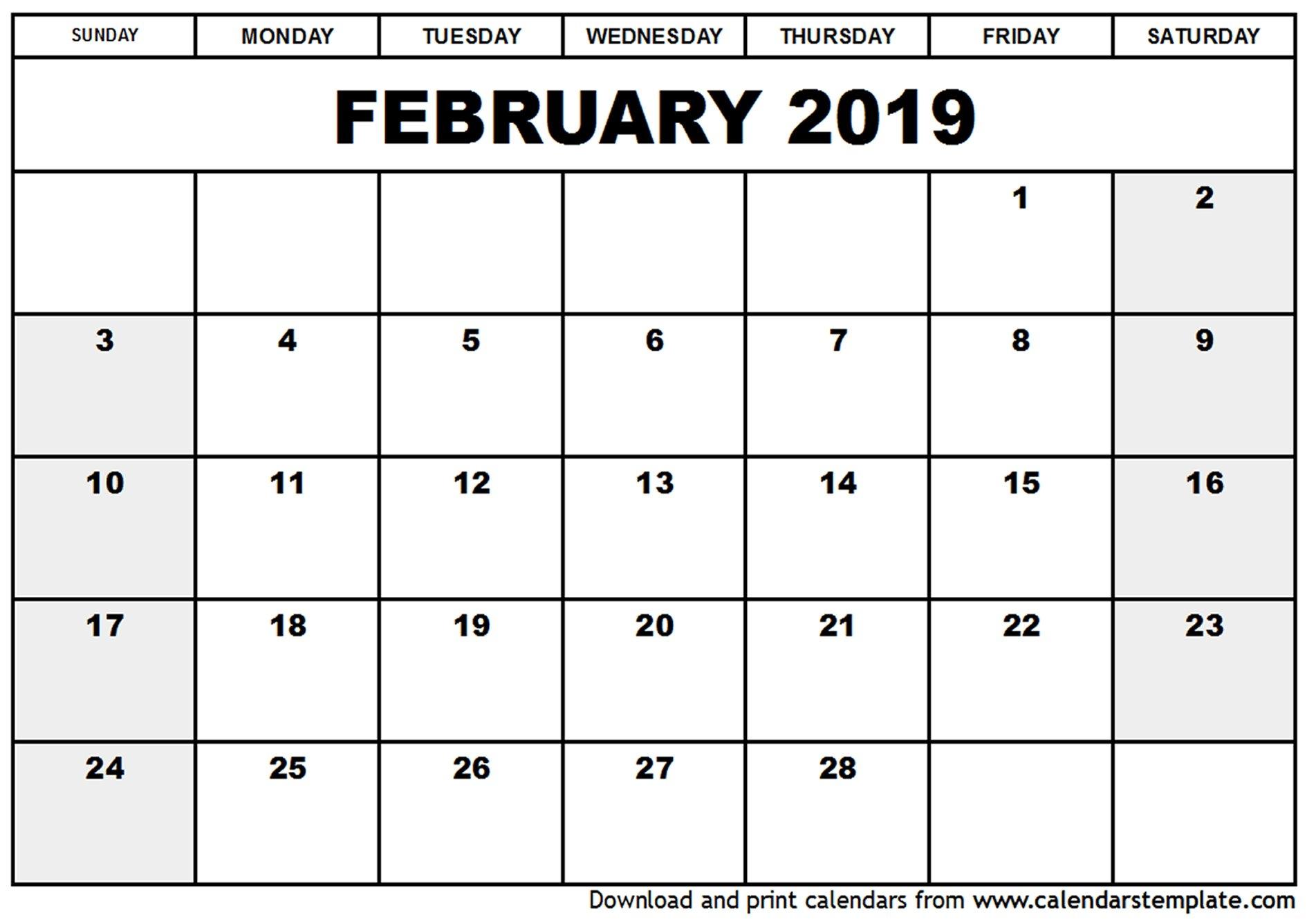 February 2019 Calendar Pdf, Word, Excel | Printable Calendar & Free Calendar 2019 Ke