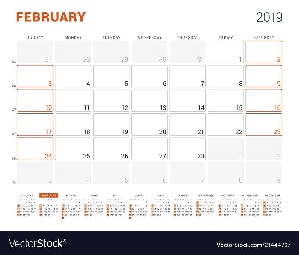 February 2019 Calendar Planner For 2019 Year Vector Image Feb 9 2019 Calendar