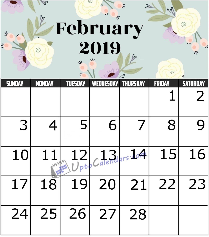 February 2019 Calendar Printable Template With Holidays Pdf Word Feb 5 2019 Calendar