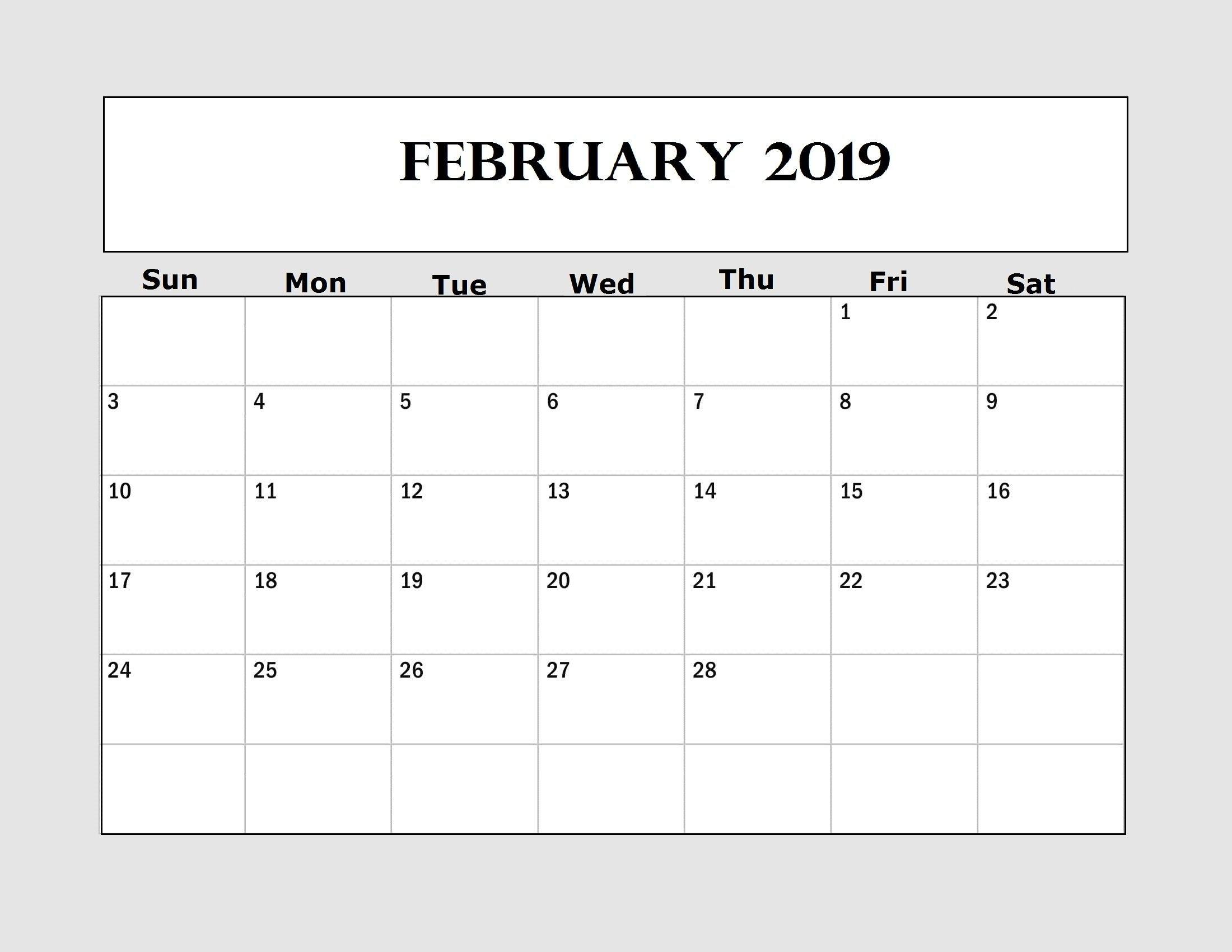 February 2019 Printable Calendar Creator | February 2019 Calendar Calendar 2019 Creator