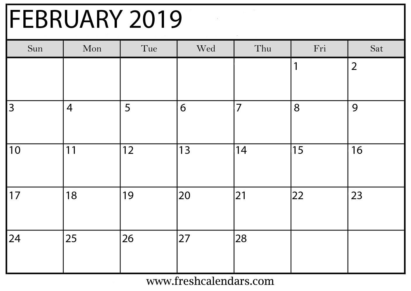February 2019 Printable Calendars – Fresh Calendars Calendar 2019 February Printable