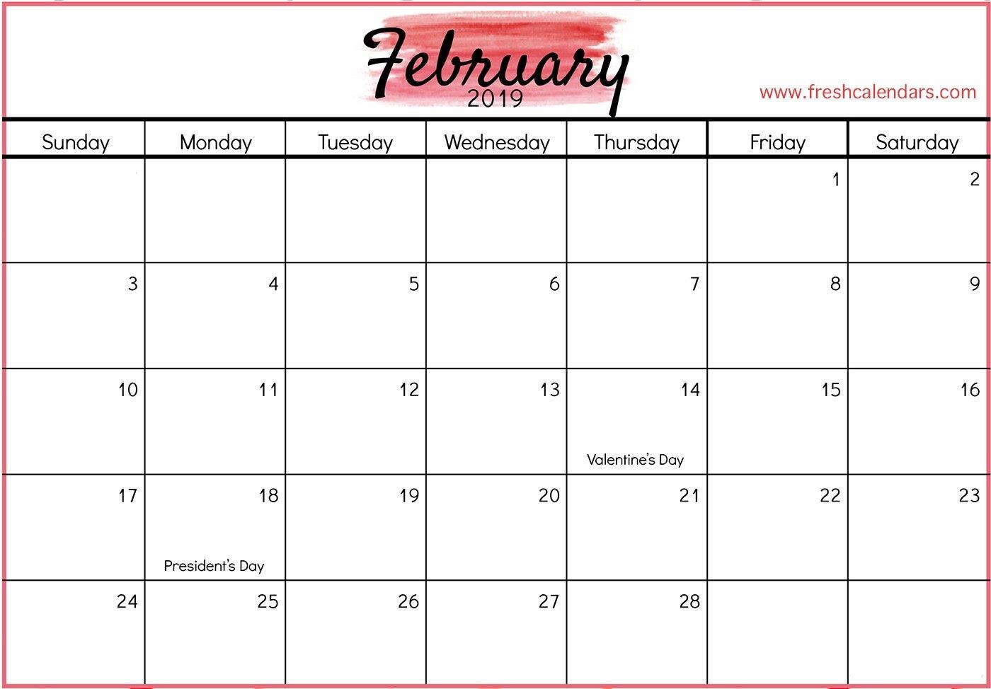 February 2019 Printable Calendars – Fresh Calendars Calendar Feb 9 2019