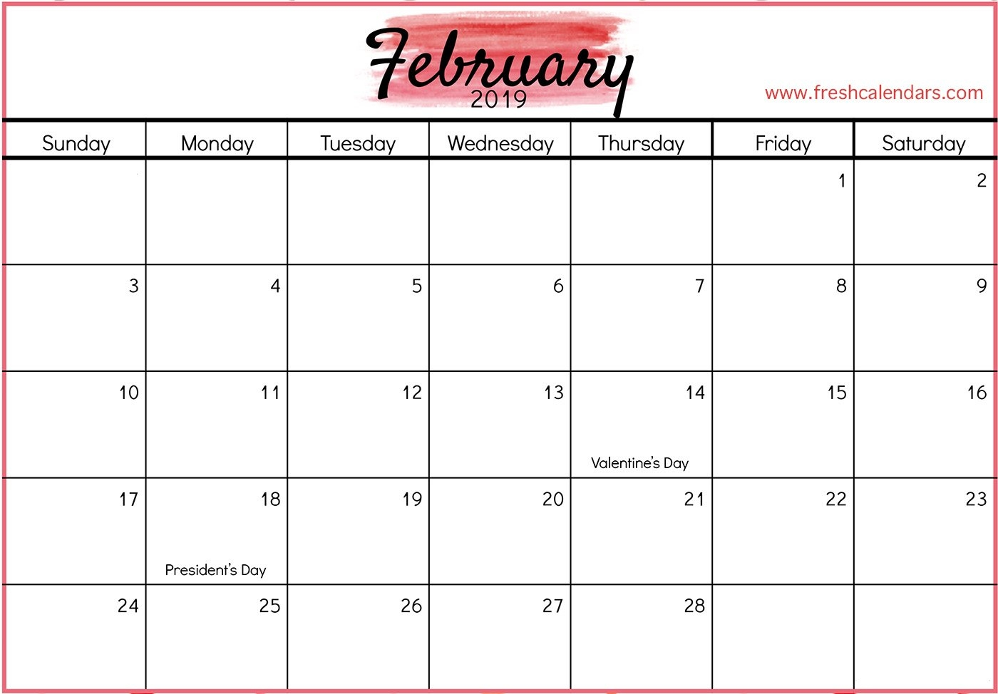 February 2019 Printable Calendars – Fresh Calendars Feb 9 2019 Calendar