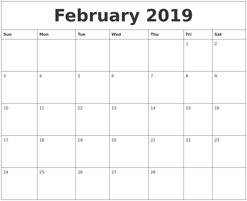 February 2019 Printable Daily Calendar Calendar 2019 Daily