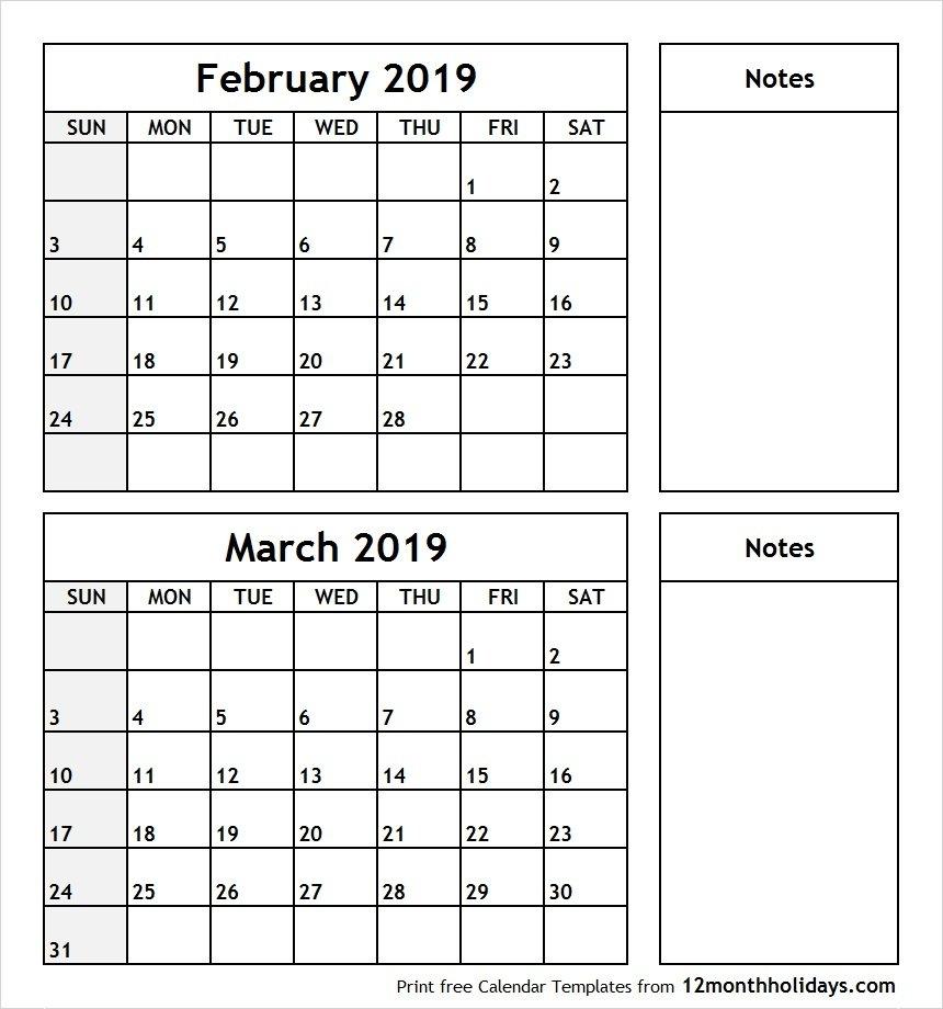 February And March 2019 Calendar – All 12 Month Calendar Printable Calendar 2019 February And March