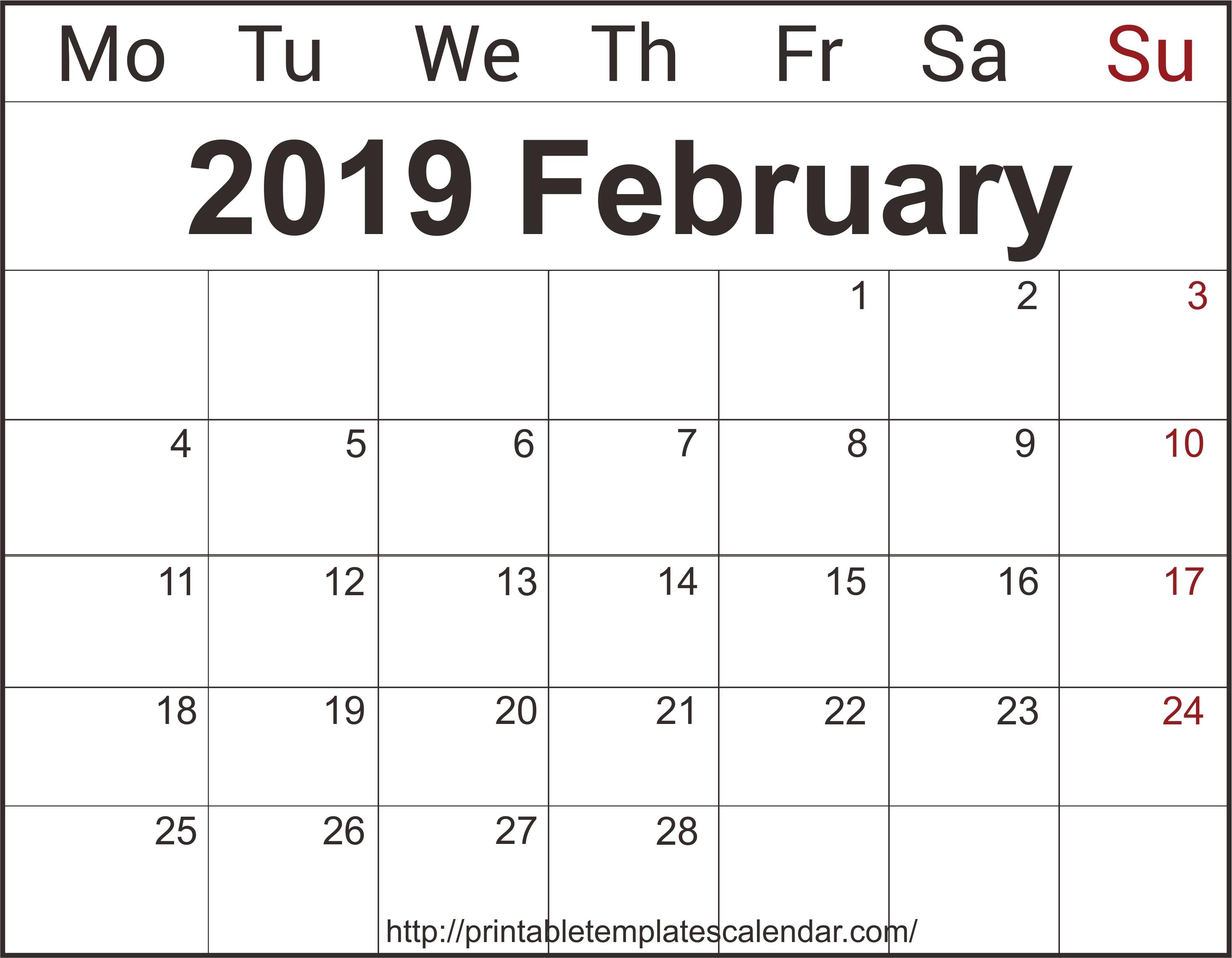 February Calendar 2019 Xls   Monthly Calendar Printable Templates Calendar 2019 Xls