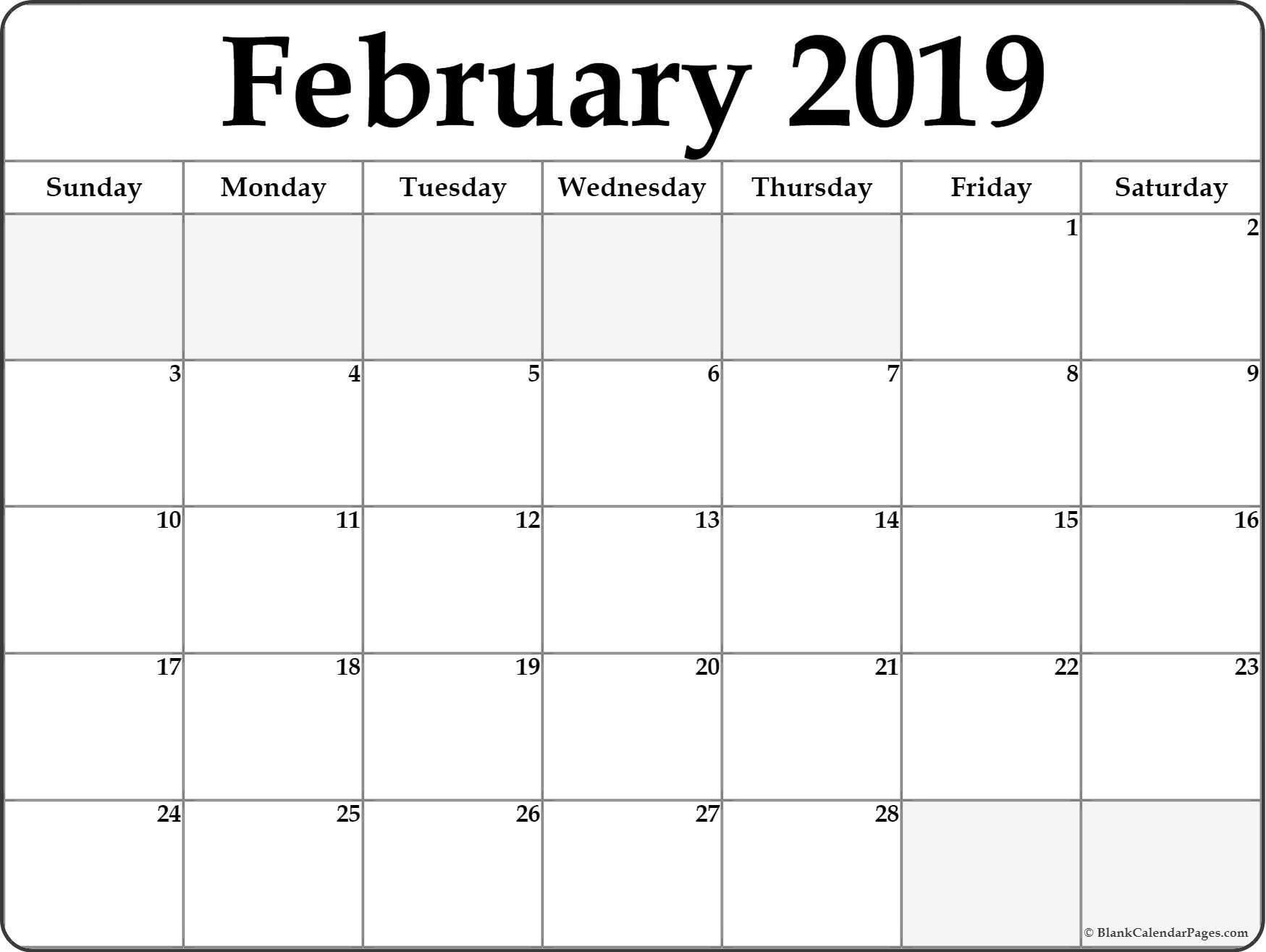 February Calendar Editable 2019 | 250+ Free Monthly Calendar 2019 Calendar You Can Edit