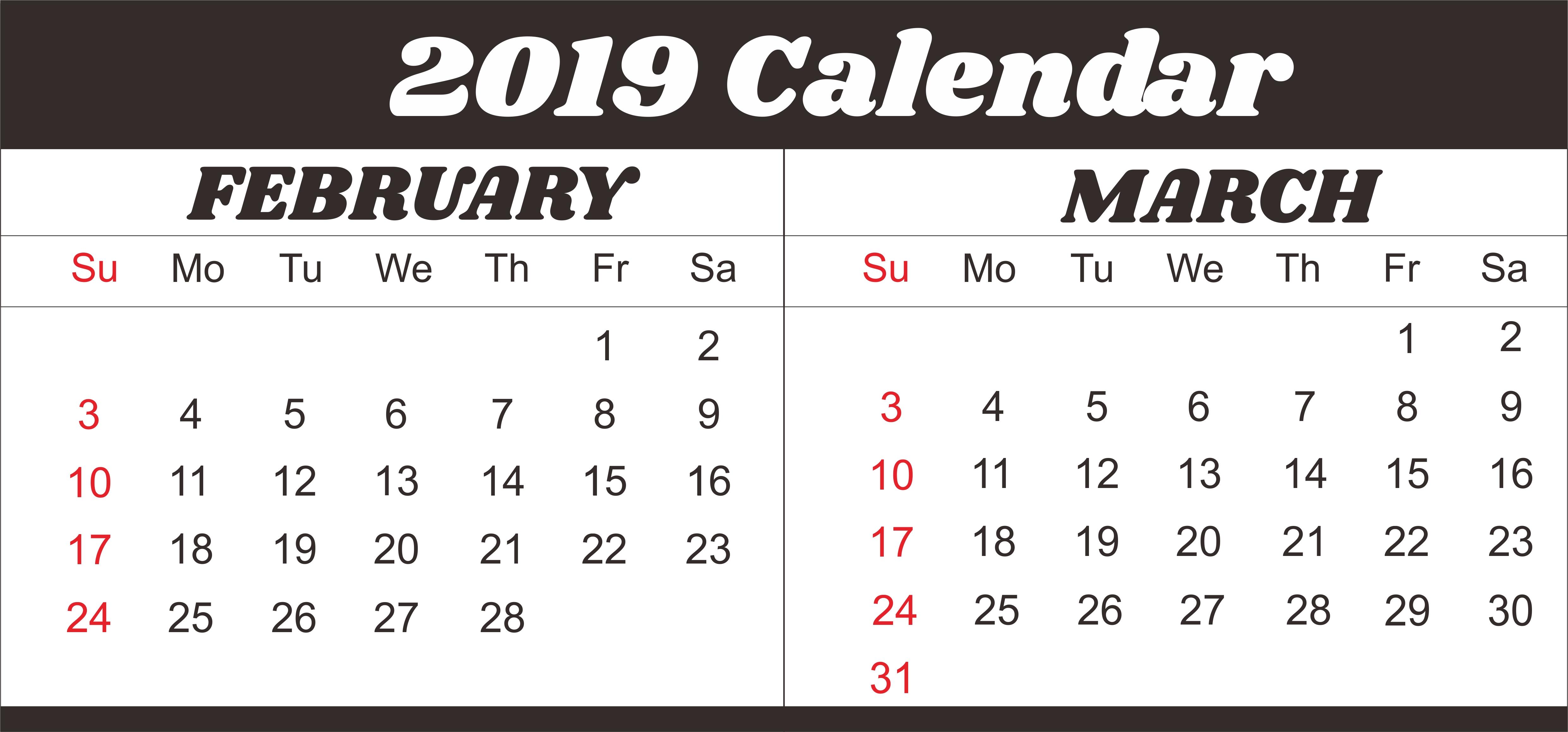 February March 2019 Calendar Template #februarycalendar March 2 2019 Calendar
