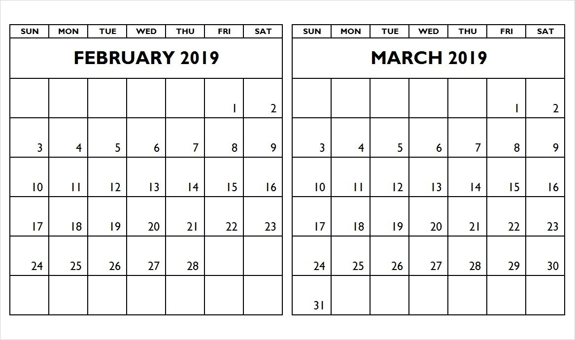 February March 2019 Two Month Calendar – Printable Calendar 2019 2 Month Calendar 2019