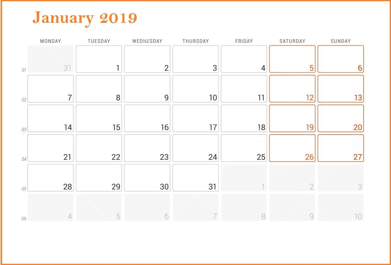 Fillable Calendar For January 2019 – Printable Calendar Templates Calendar 2019 Fillable