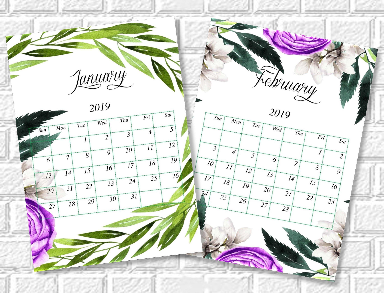 Floral Calendar 2019 Printable Monthly Desk Calendar   Etsy Calendar 2019 Vistaprint