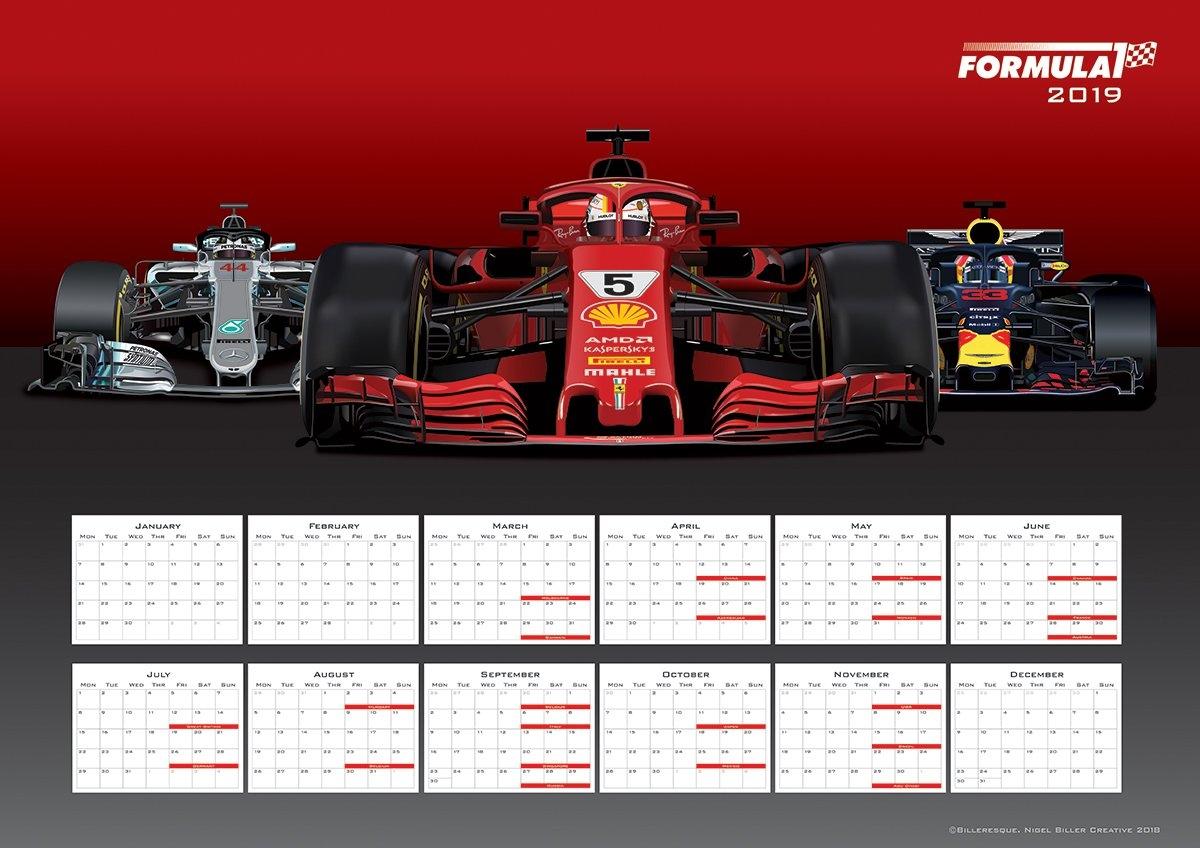 Formula 1 2019 Poster Calendar – Sebastian Vettel – The Gpbox Formula 1 Calendar 2019