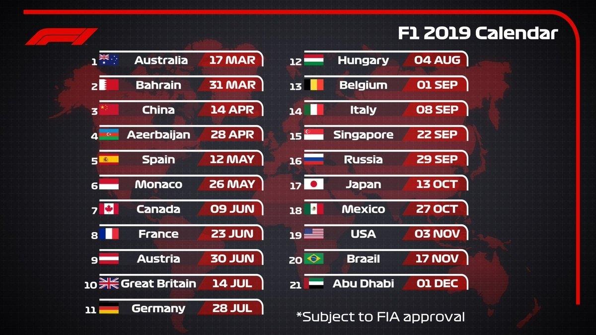 "Formula 1 On Twitter: ""2019 Draft #f1 Calendar ? 21 Races 9 Formula 1 Calendar 2019"