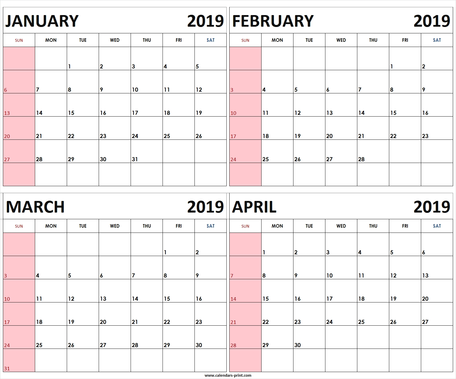 Four Monthly January February March April 2019 Calendar | Template Calendar 2019 4 Month