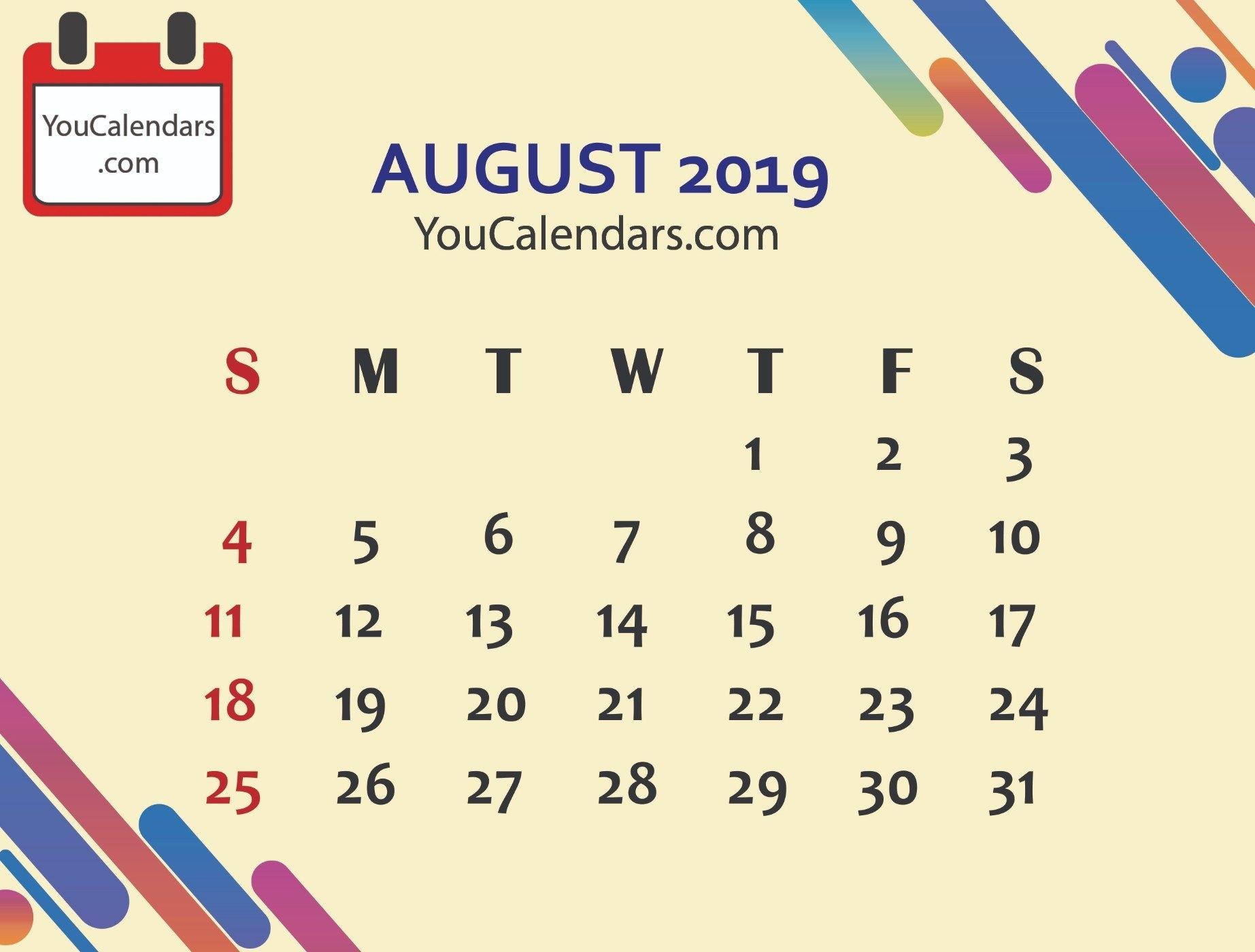 Free August 2019 Calendar Printable Template – You Calendars 8 August 2019 Calendar