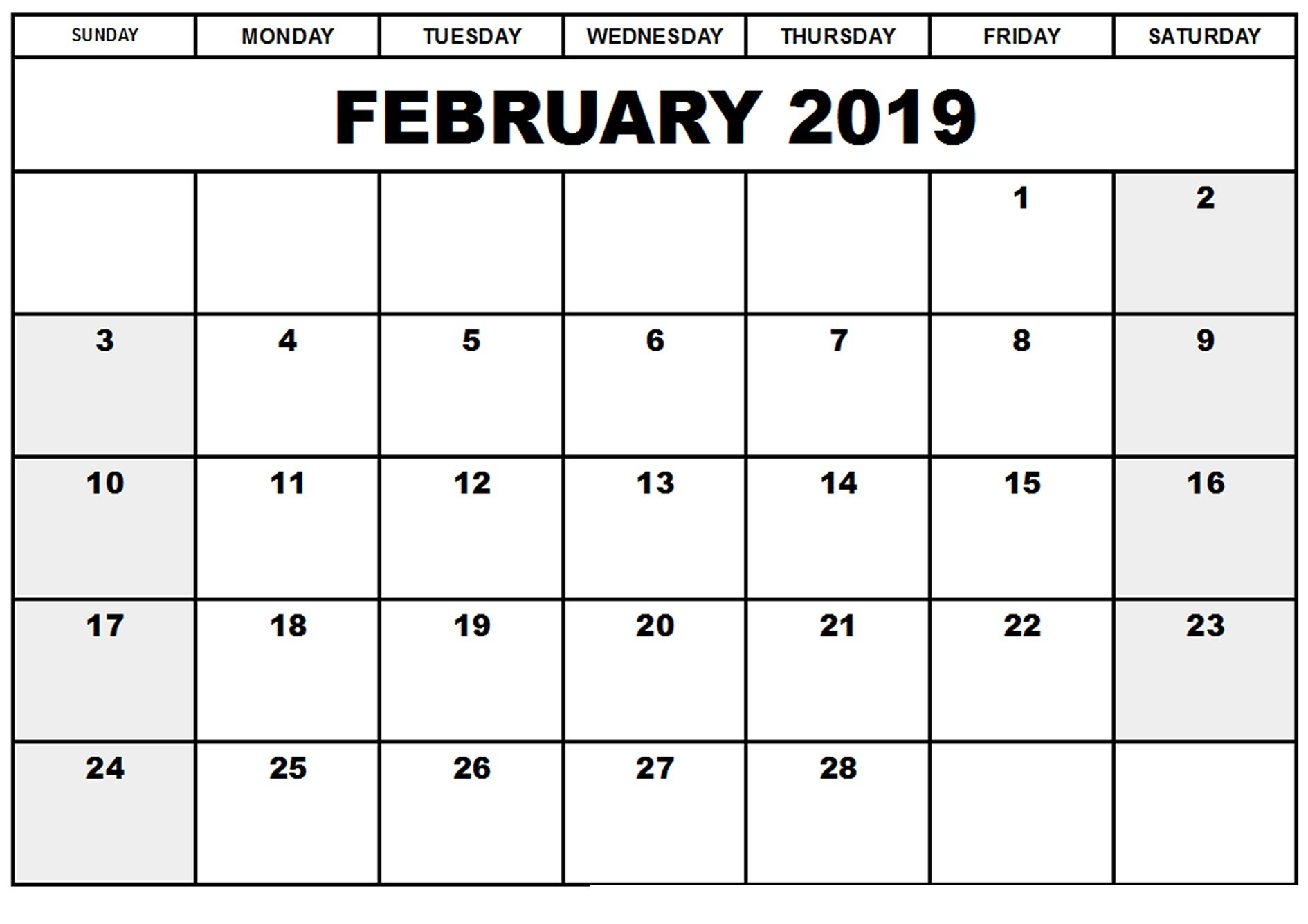 Free Blank A4 February 2019 Calendar Pdf, Excel, Word   Template Calendar 2019 Download Word