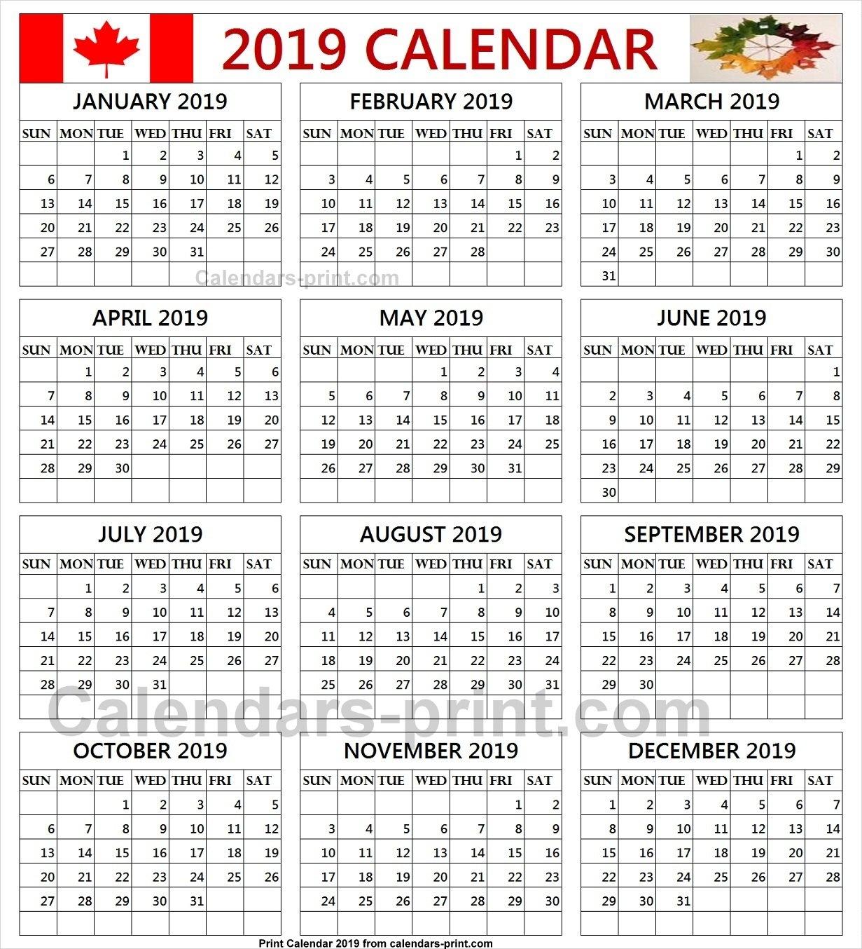 Free Calendar 2019 Canada Printable Template With Notes   Holidays Calendar Of 2019 Canada