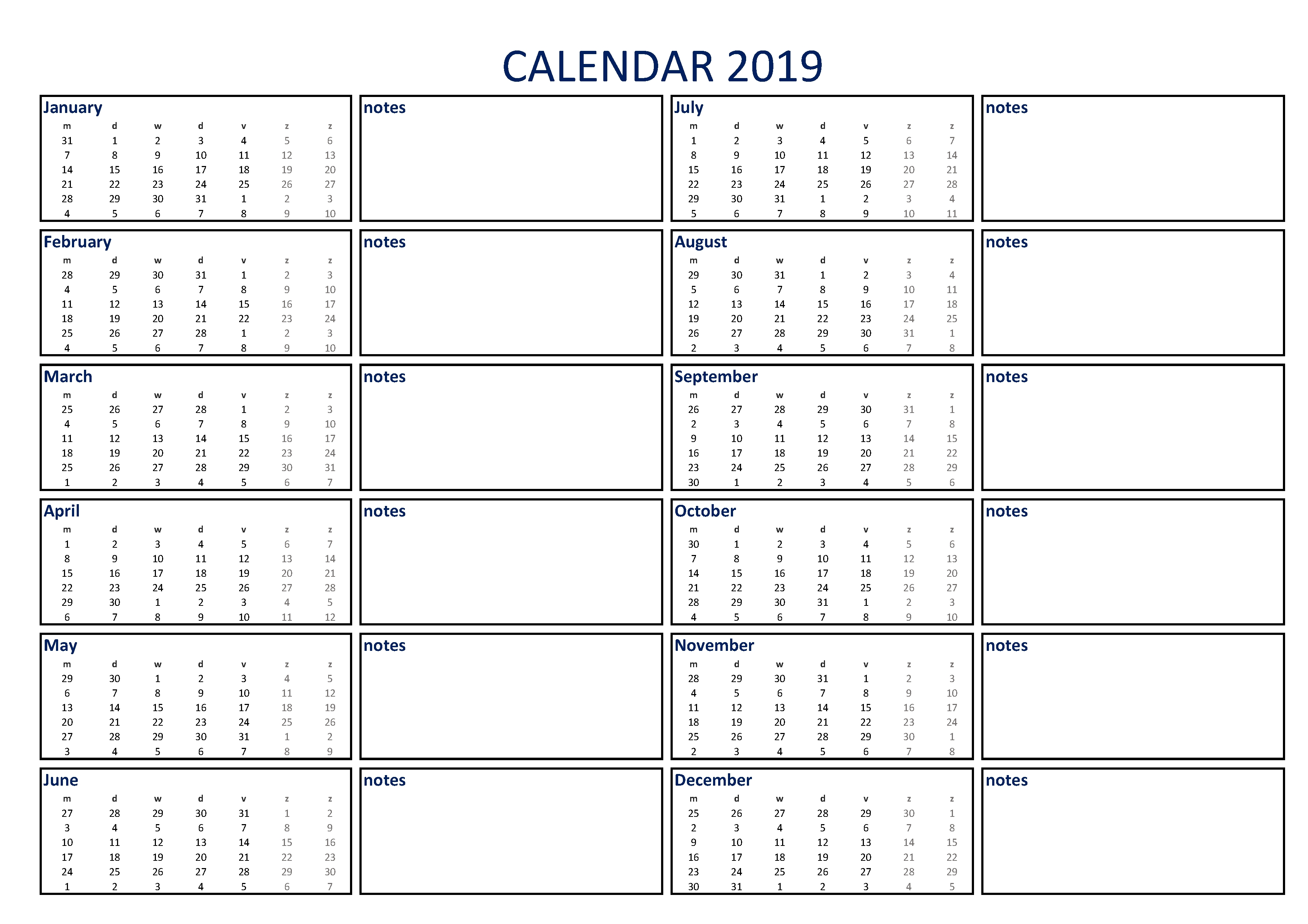 Free Calendar 2019 With Notes A4   Templates At Calendar 2019 Leave