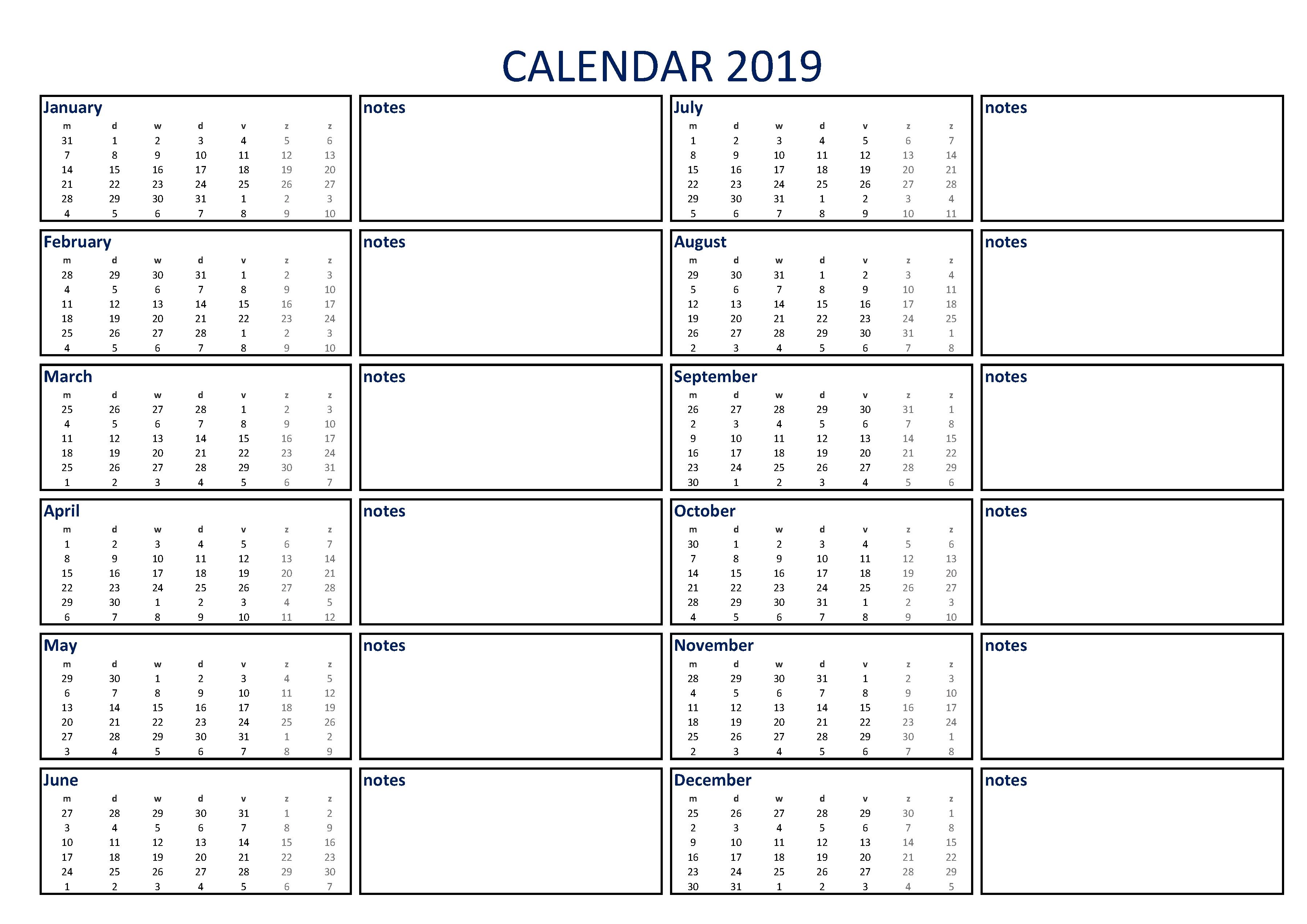 Free Calendar 2019 With Notes A4 | Templates At Calendar 2019 Notes