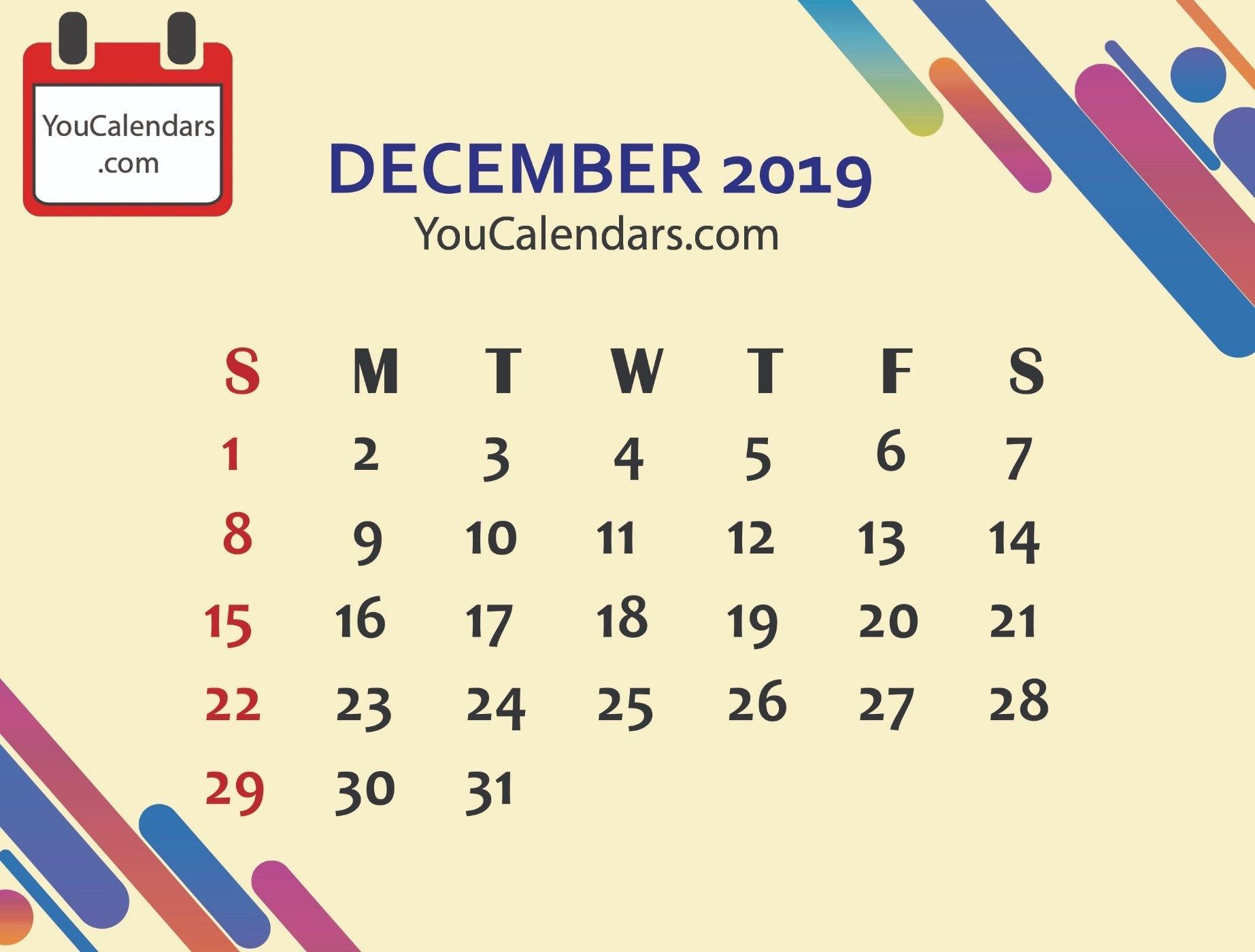 Free December 2019 Calendar Printable Template – You Calendars U Of W Calendar 2019