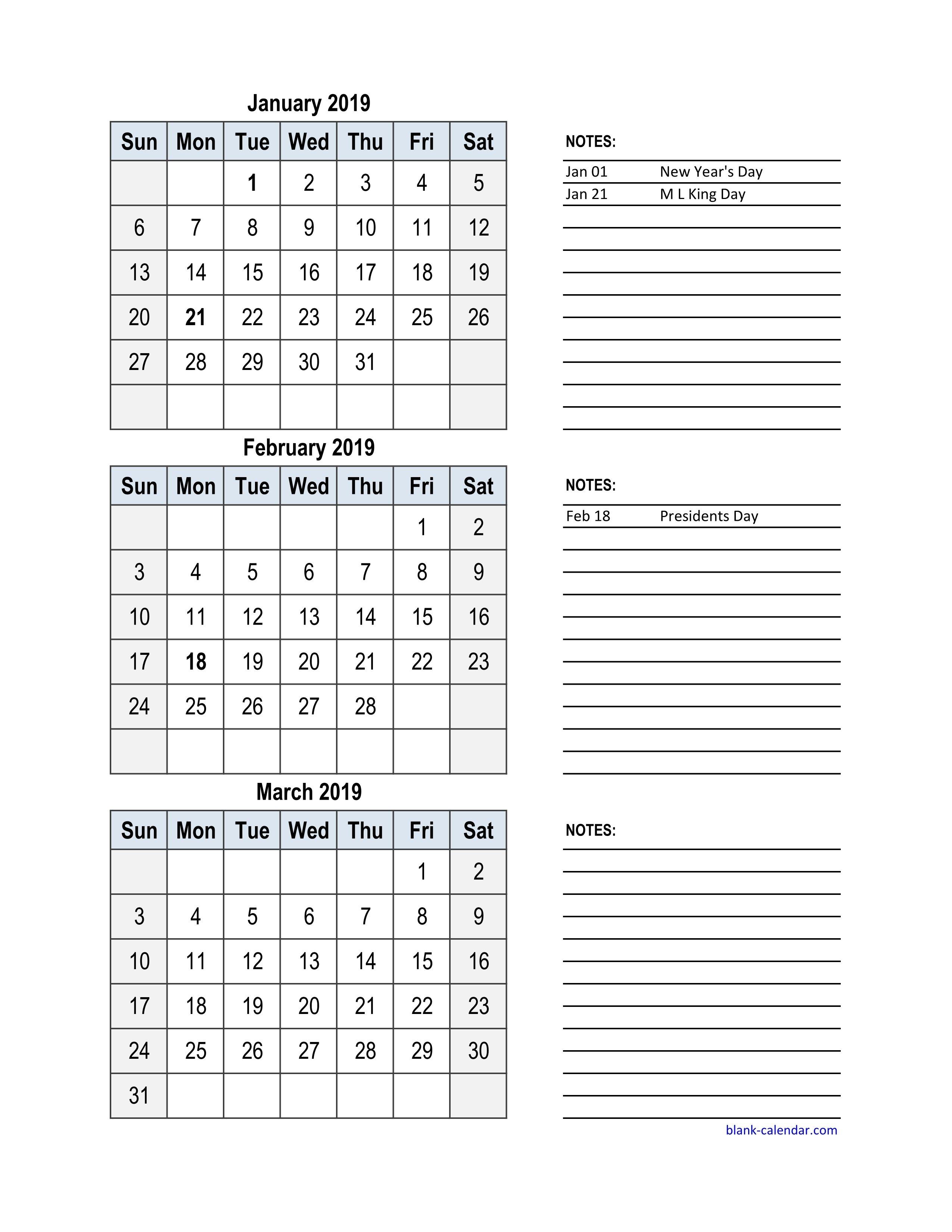 Free Download 2019 Excel Calendar, 3 Months In One Excel Spreadsheet 3 Month Calendar 2019 Printable