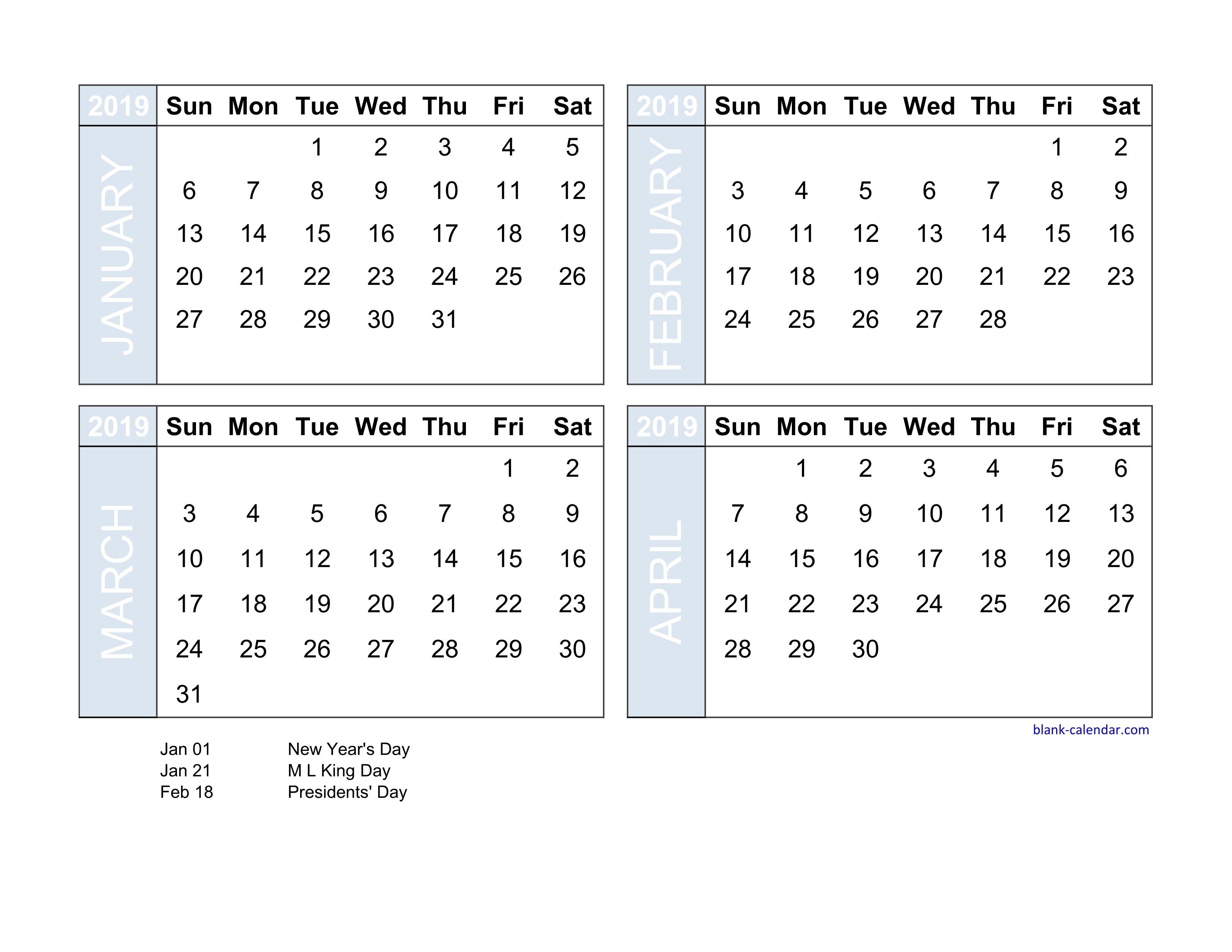 Free Download 2019 Excel Calendar Four Month In Landscape Format Calendar 4 2019