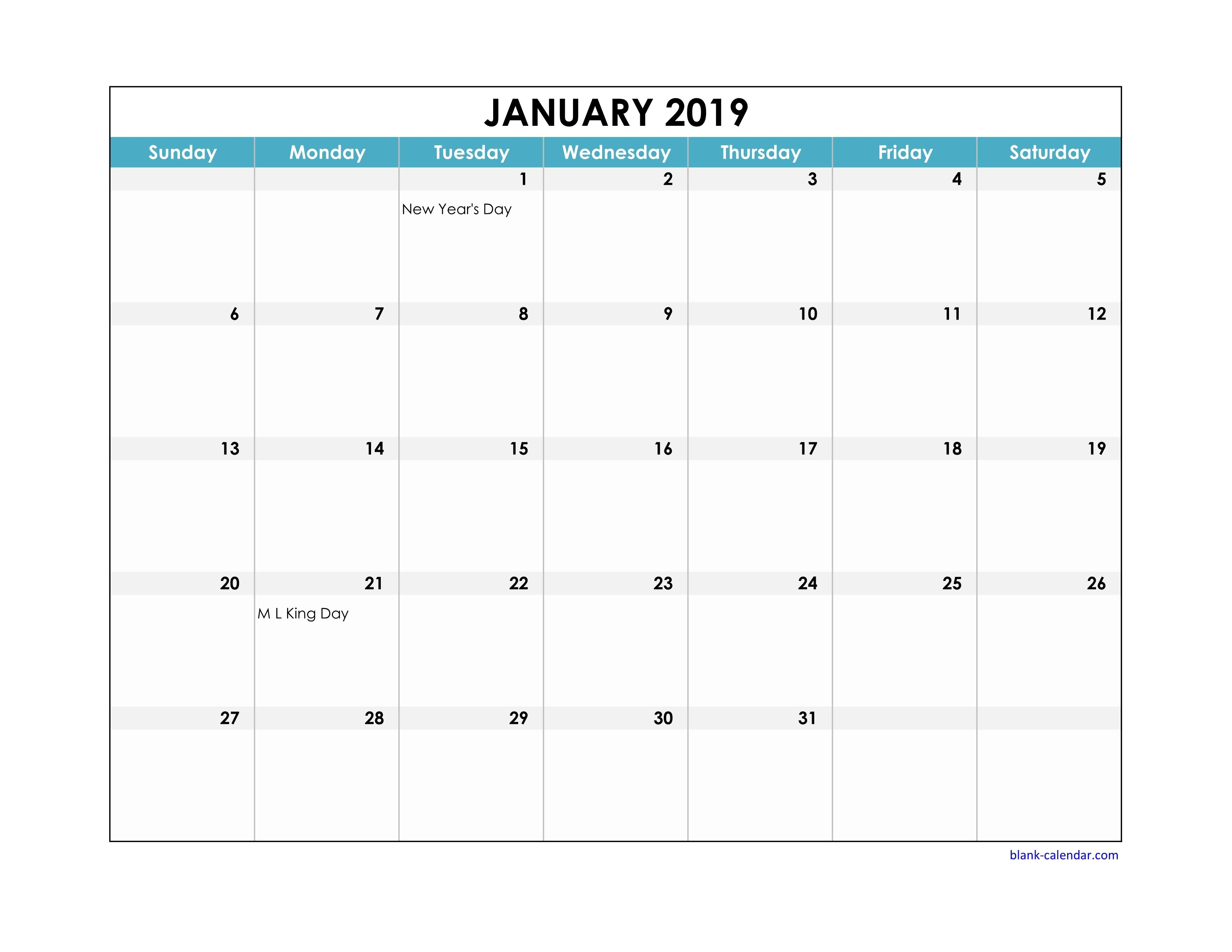Free Download 2019 Excel Calendar Large Boxes In The Grid (Horizontal) Calendar 2019 Excel Monthly