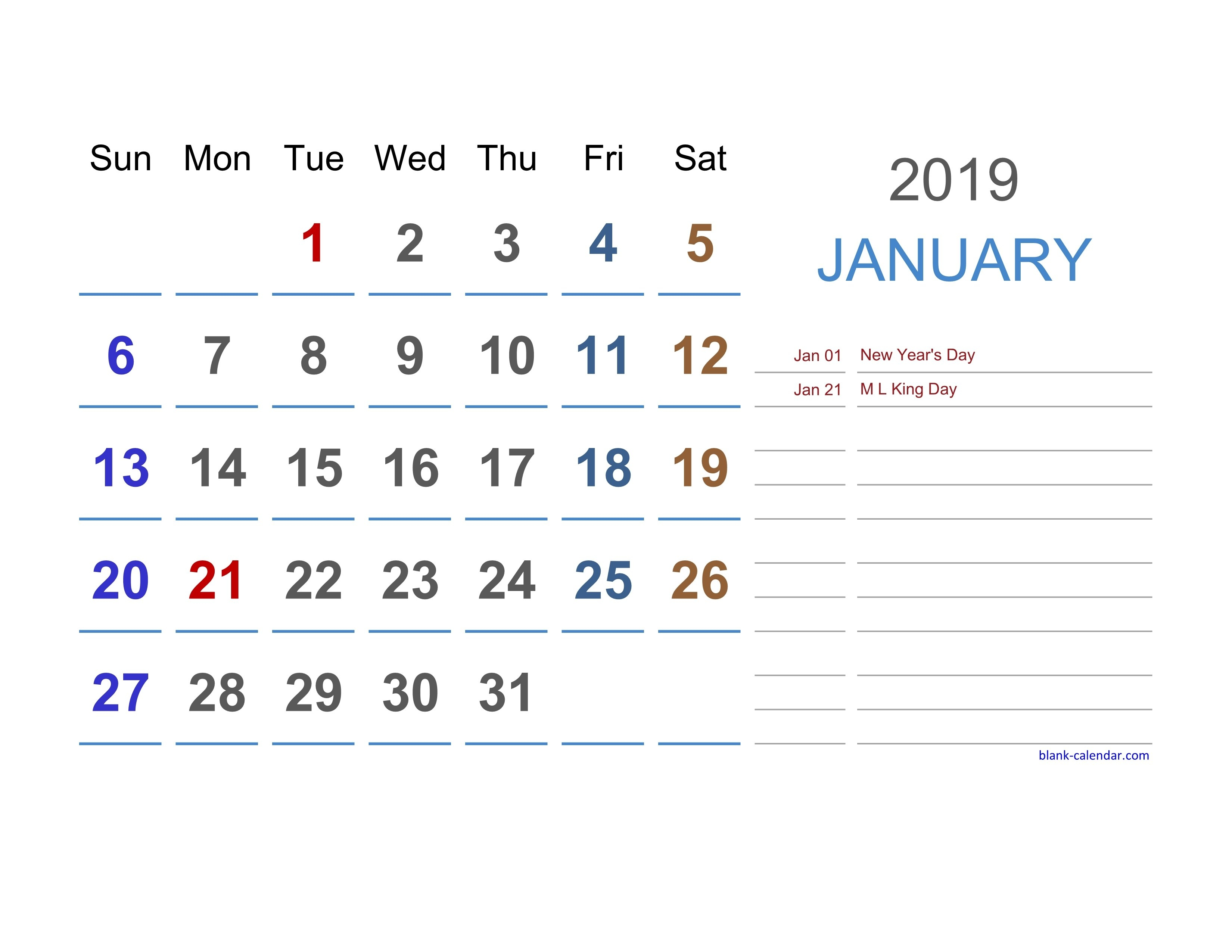 Free Download 2019 Excel Calendar Large Space For Notes (Horizontal) Calendar 2019 Excel
