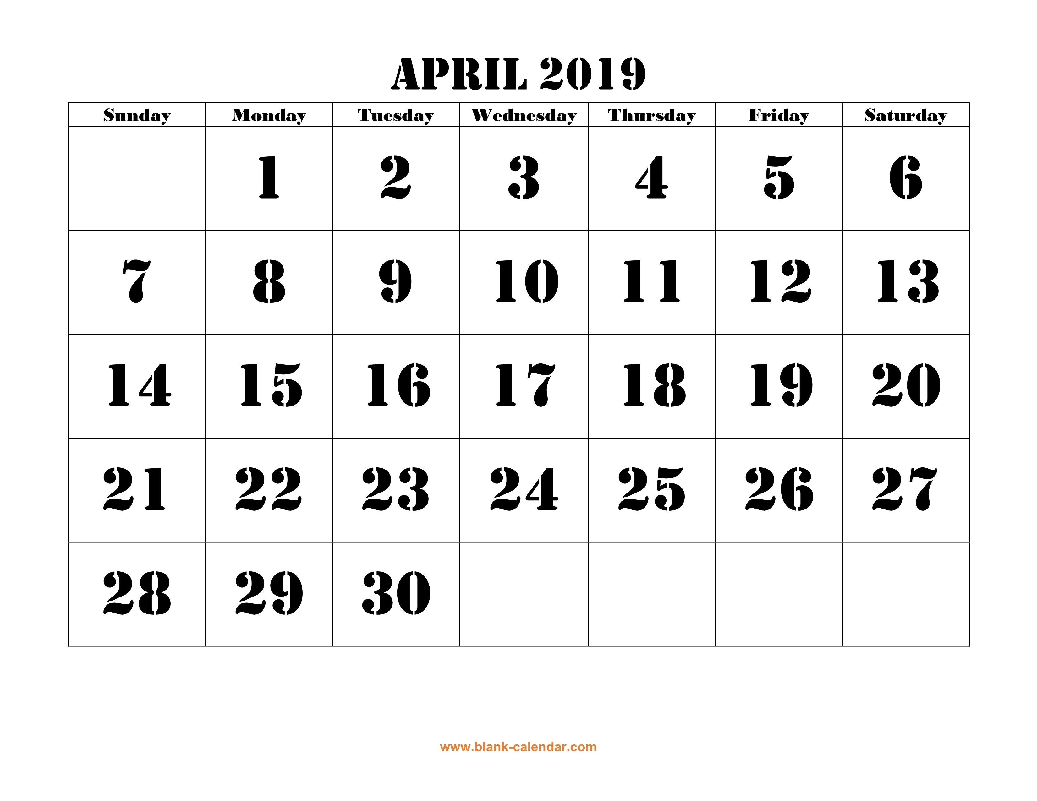 Free Download Printable April 2019 Calendar, Large Font Design Calendar April 30 2019