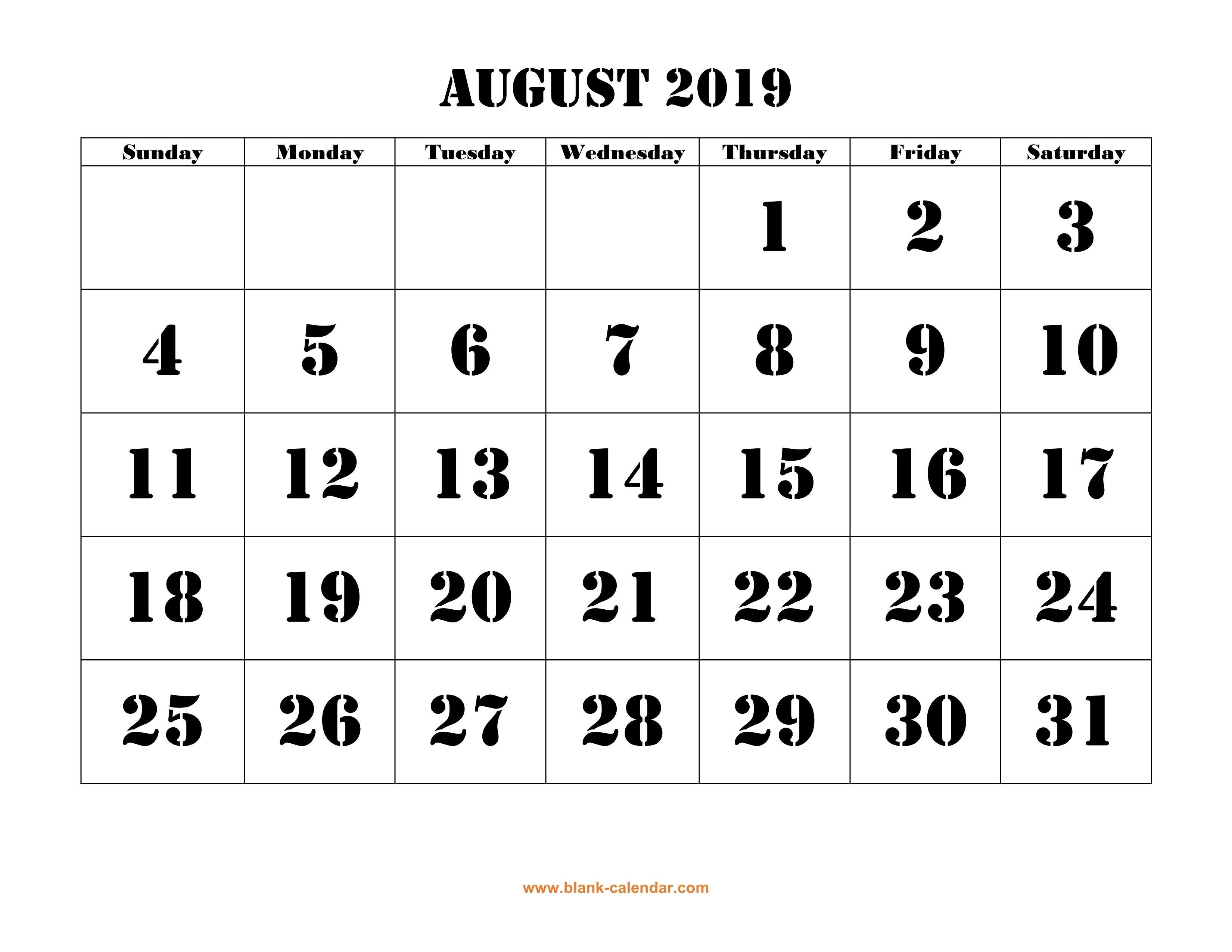 Free Download Printable August 2019 Calendar, Large Font Design 8 August 2019 Calendar