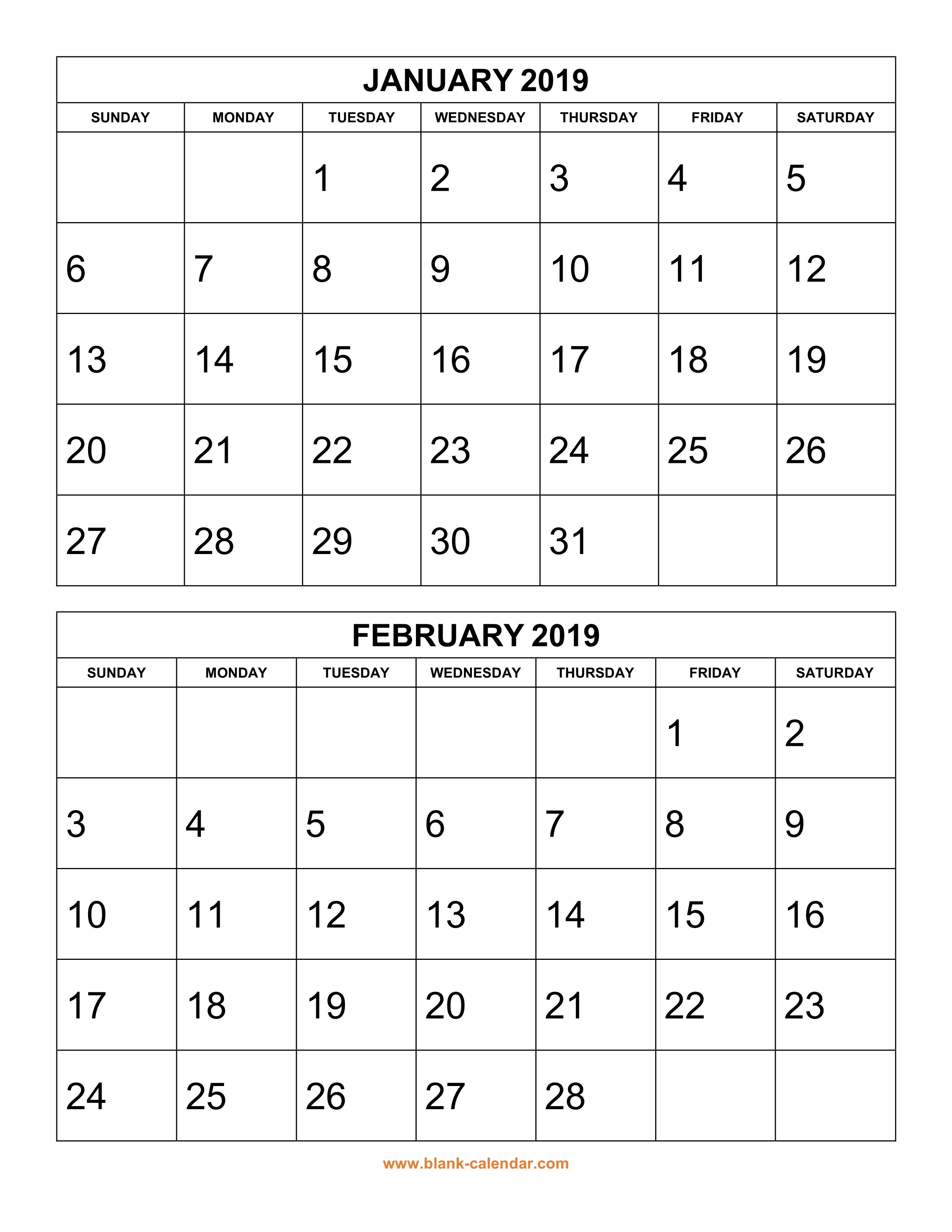 Free Download Printable Calendar 2019, 2 Months Per Page, 6 Pages 6 Month Calendar Template 2019