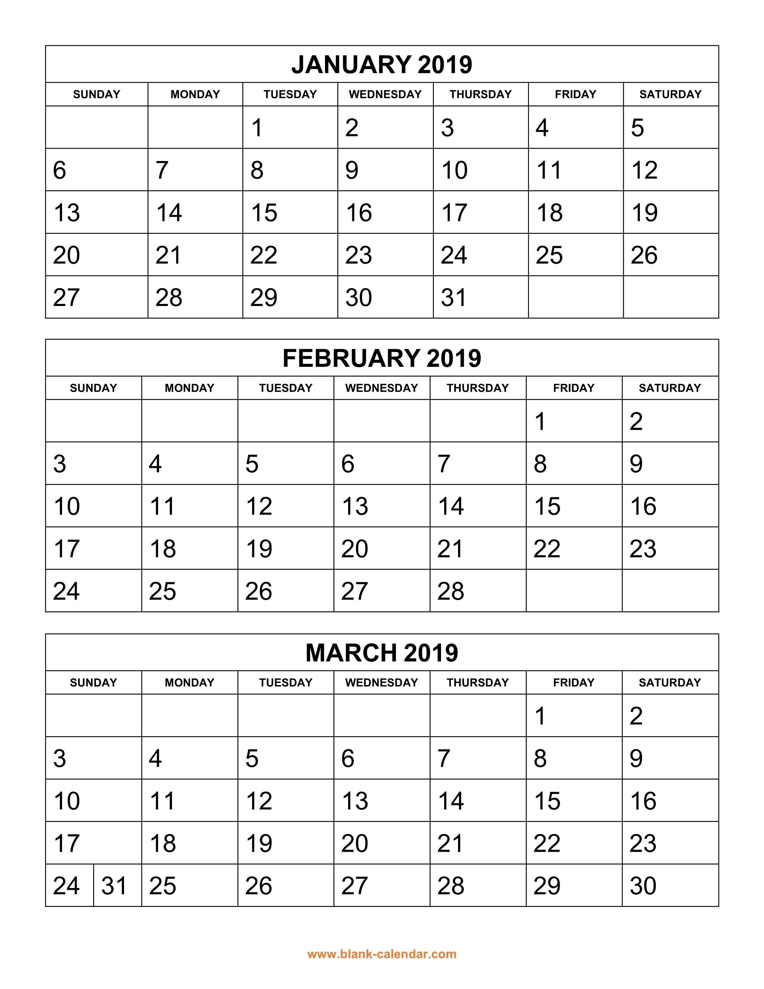 Free Download Printable Calendar 2019, 3 Months Per Page, 4 Pages Calendar 2019 3 Columns
