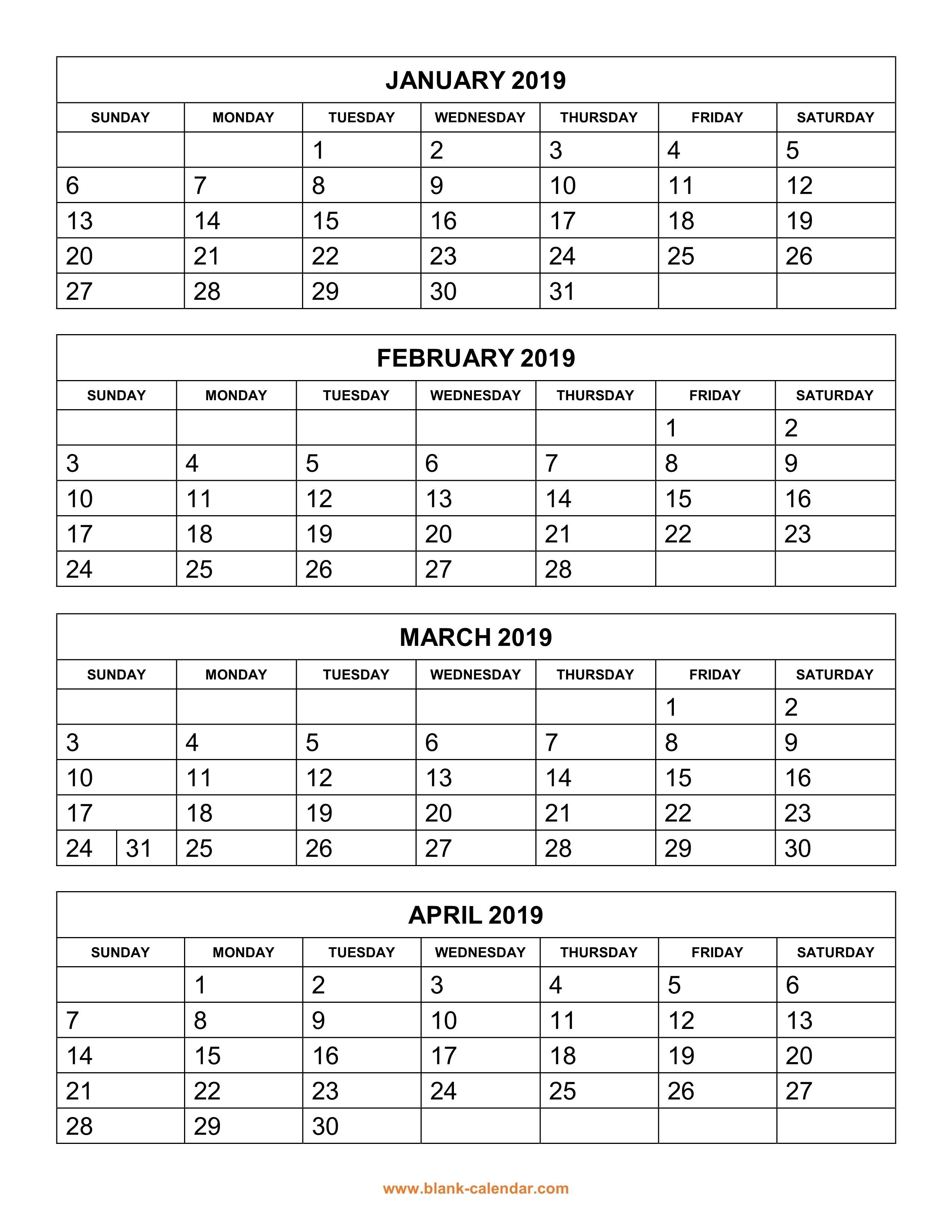 Free Download Printable Calendar 2019, 4 Months Per Page, 3 Pages 3 Month Calendar 2019 Printable
