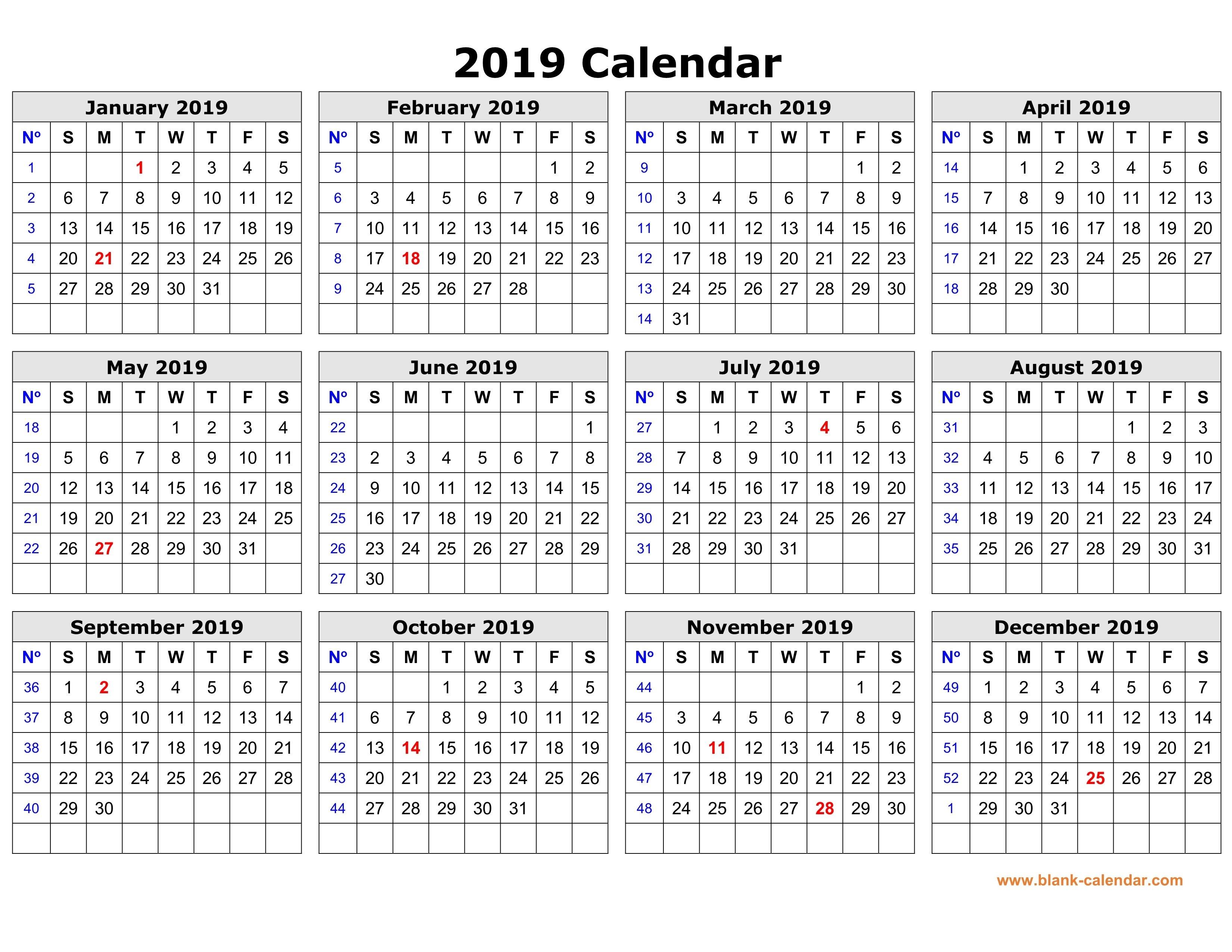 Free Download Printable Calendar 2019 In One Page, Clean Design. Calendar 2019 Year Planner Printable