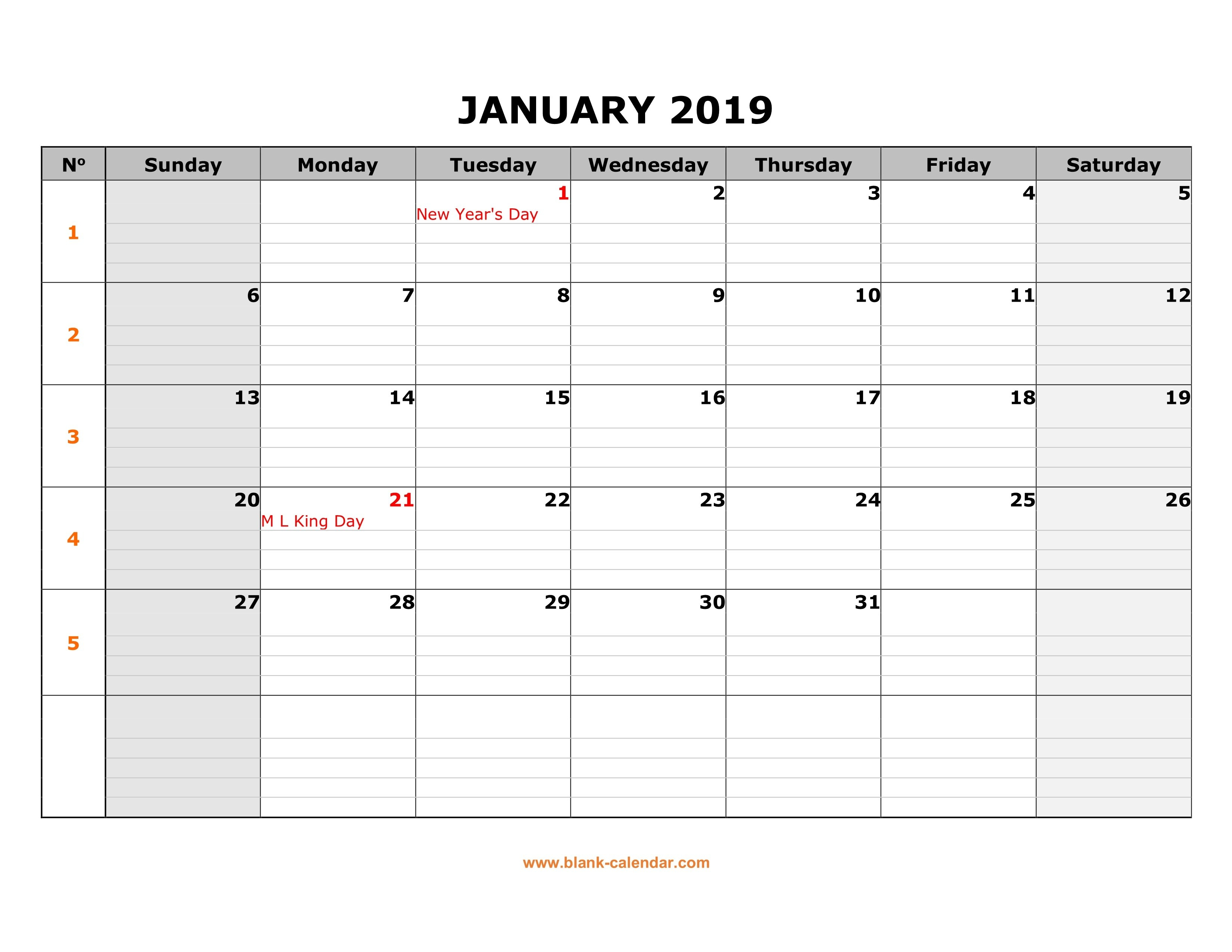 Free Download Printable Calendar 2019, Large Box Grid, Space For Notes Calendar 2019 Printable Monthly