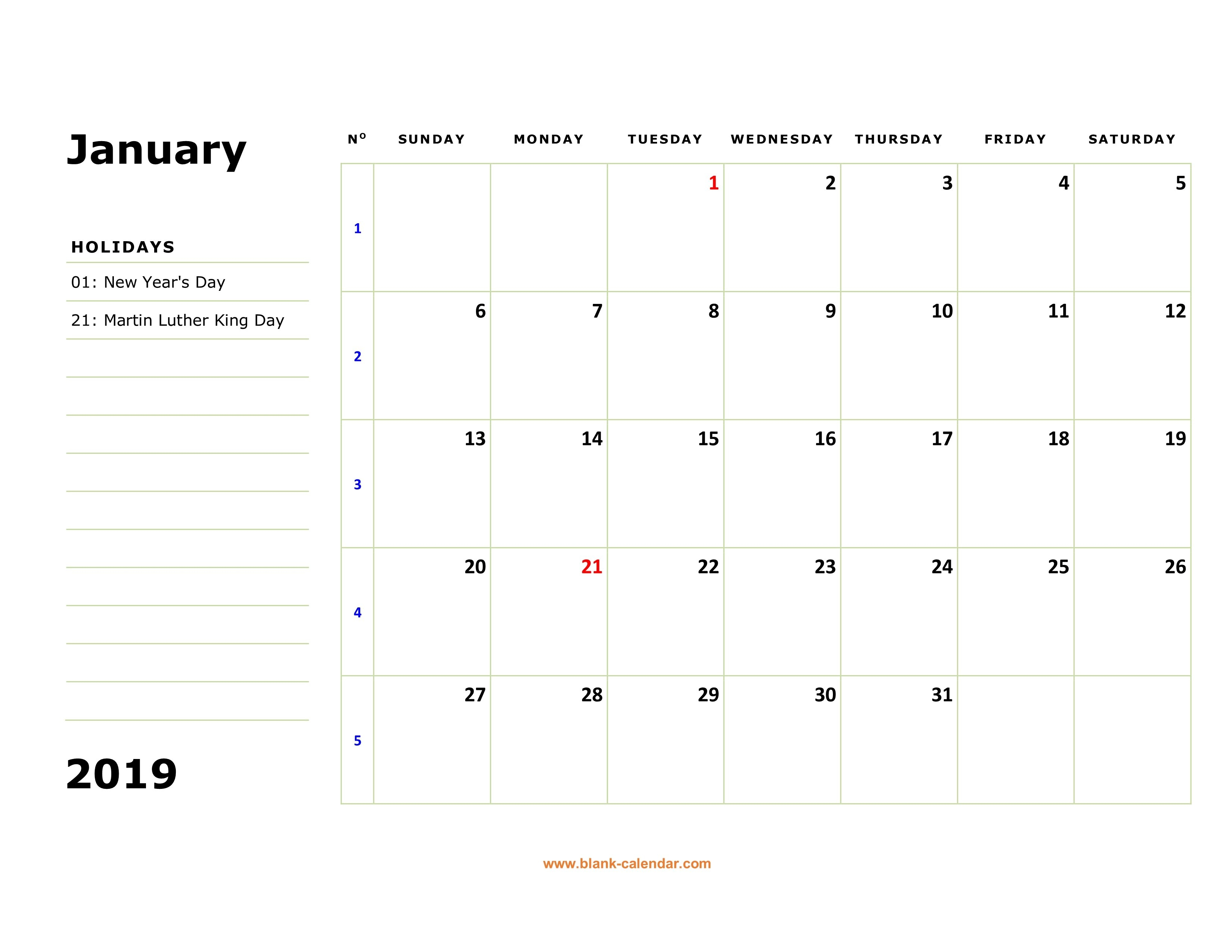 Free Download Printable Calendar 2019, Large Box, Holidays Listed Calendar 2019 Notes