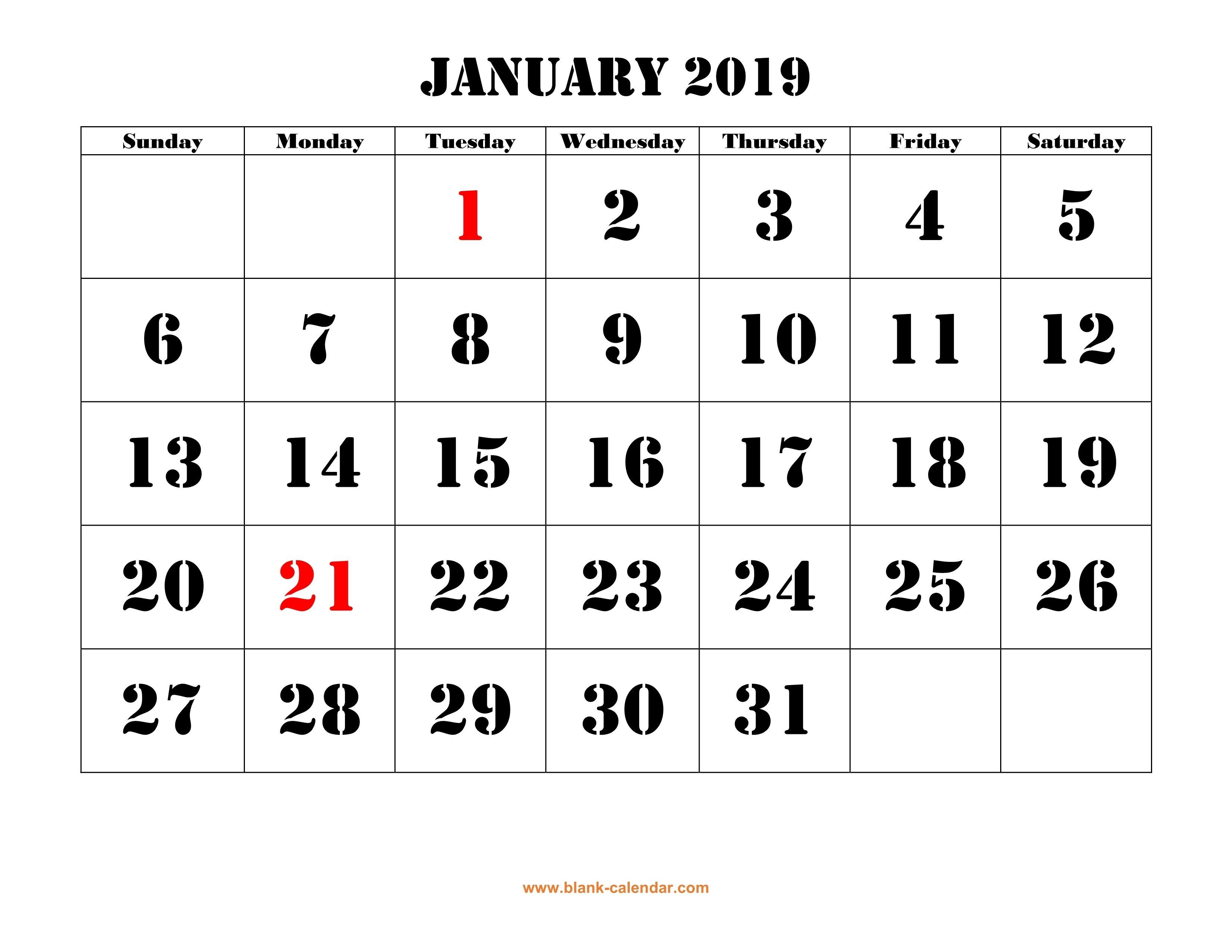 Free Download Printable Calendar 2019, Large Font Design , Holidays Page 3 Calendar 2019