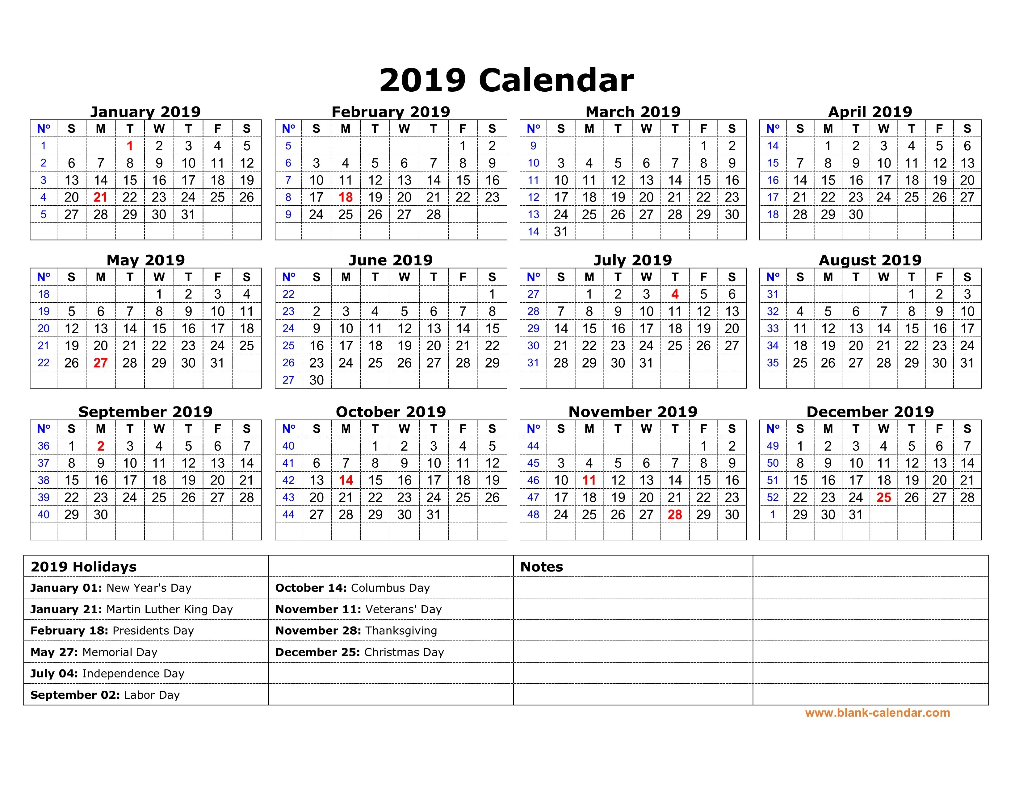Free Download Printable Calendar 2019 With Us Federal Holidays, One Calendar 2019 With Holidays Usa