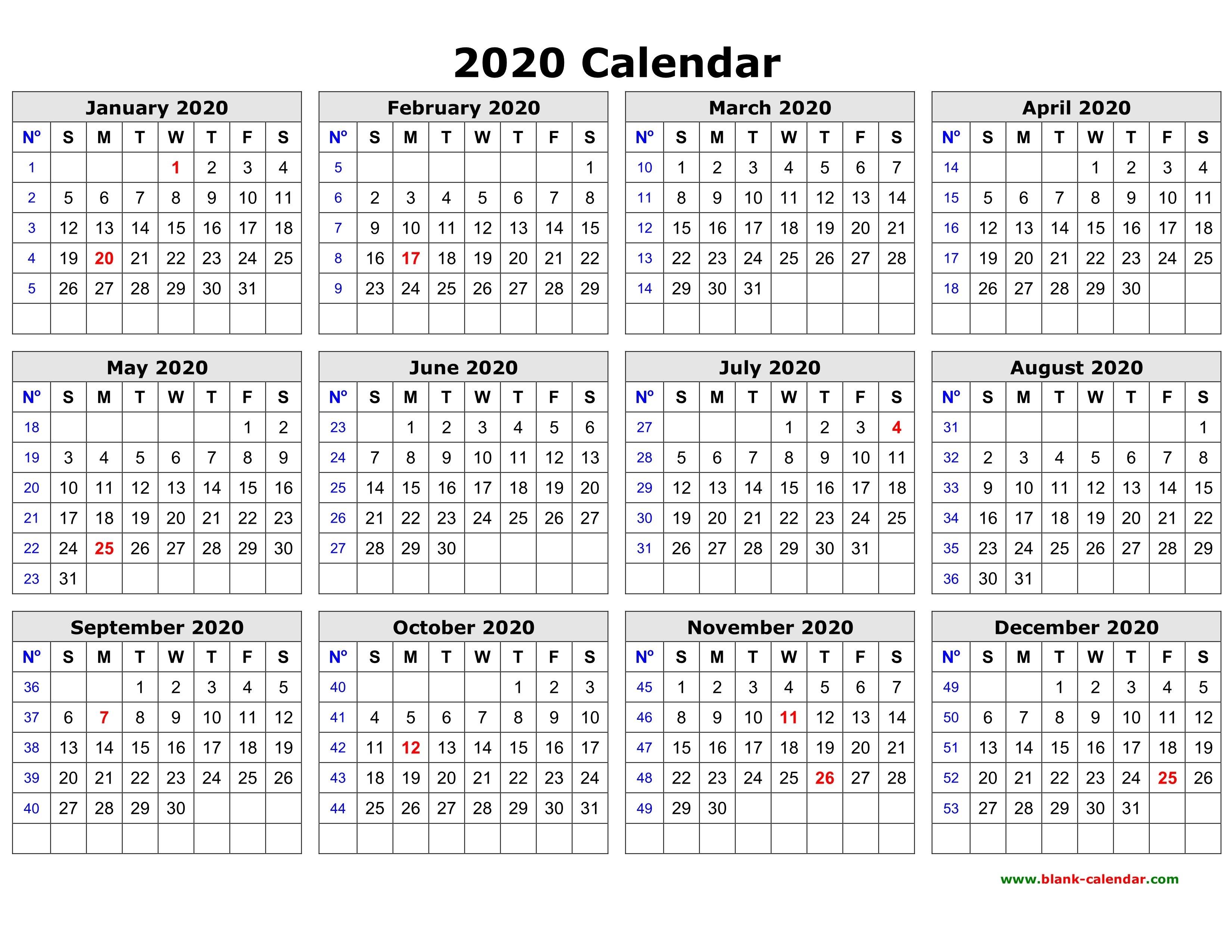 Free Download Printable Calendar 2020 In One Page, Clean Design. 2019 Calendar 2020 Printable