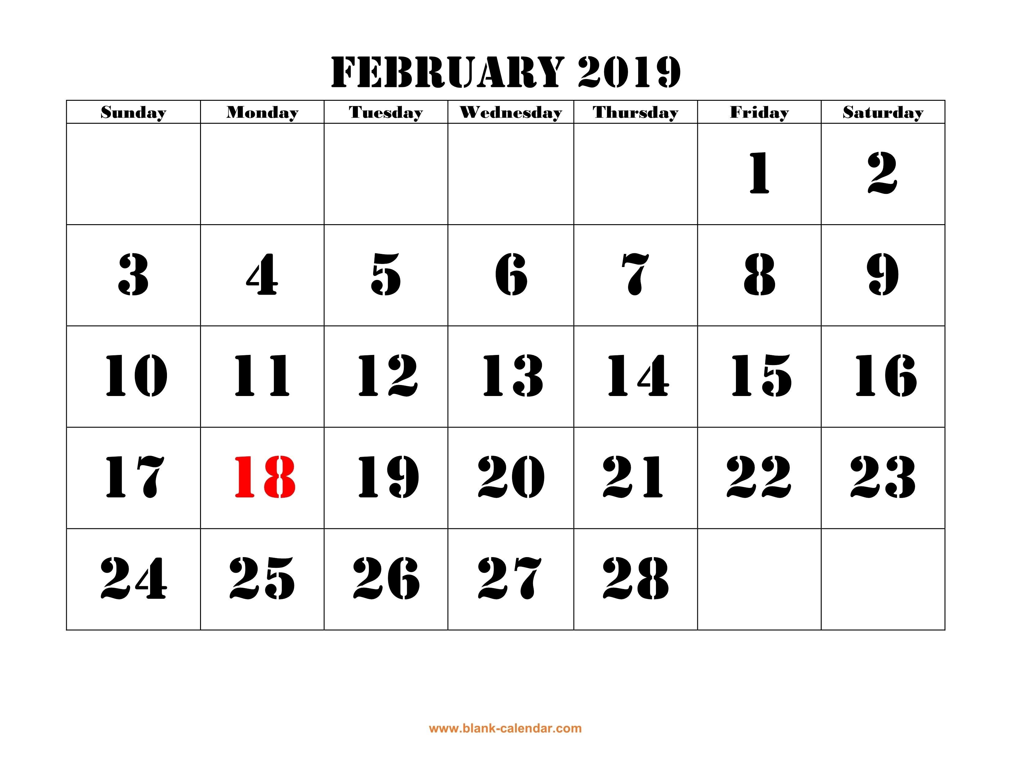 Free Download Printable February 2019 Calendar, Large Font Design Feb 5 2019 Calendar